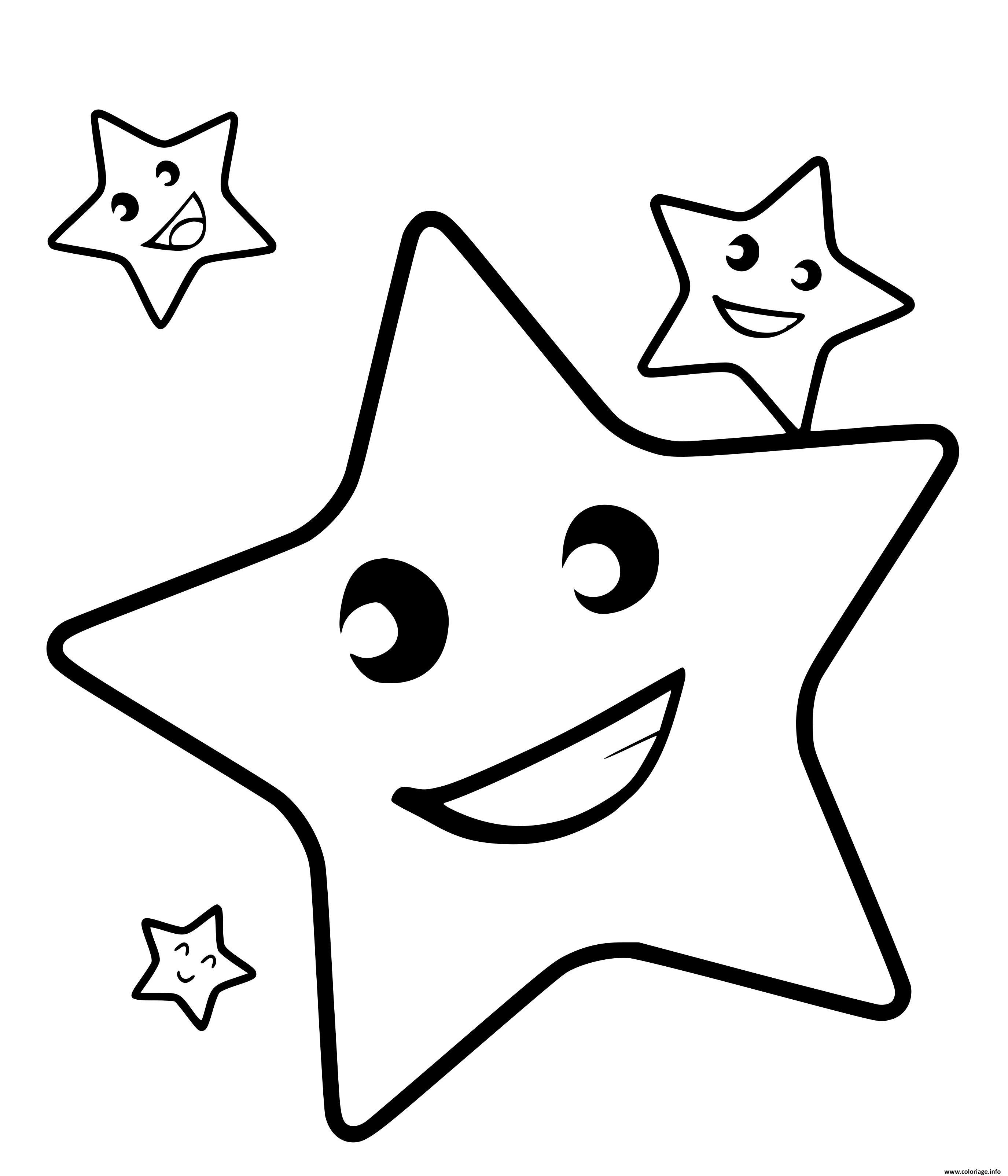 Dessin etoiles en souriant Coloriage Gratuit à Imprimer