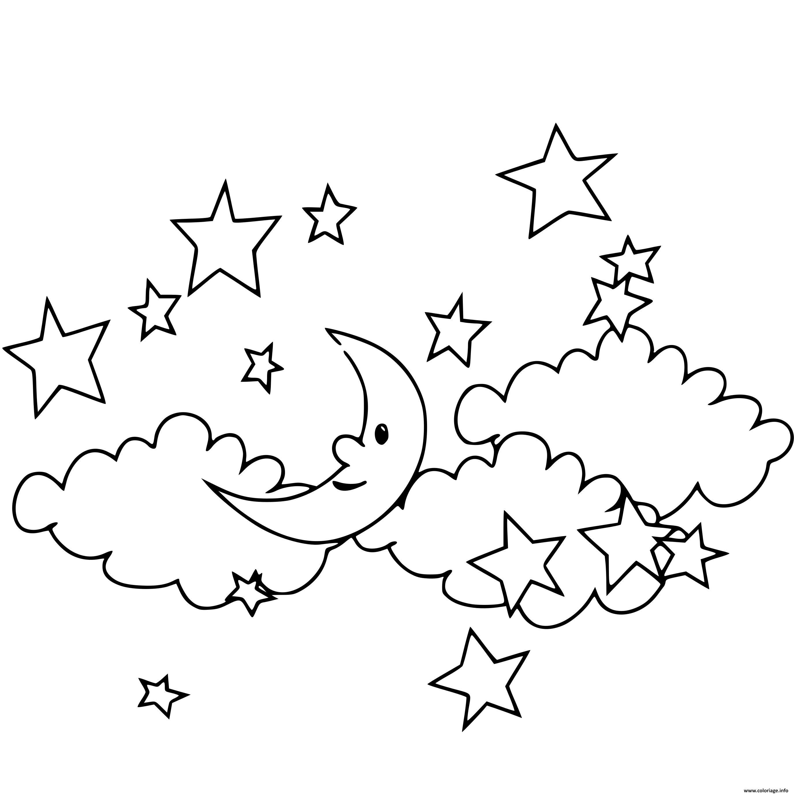 Dessin etoiles dans le ciel Coloriage Gratuit à Imprimer
