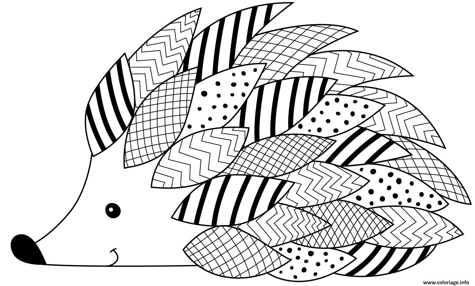 Coloriage herisson avec plusieurs motifs   JeColorie.com
