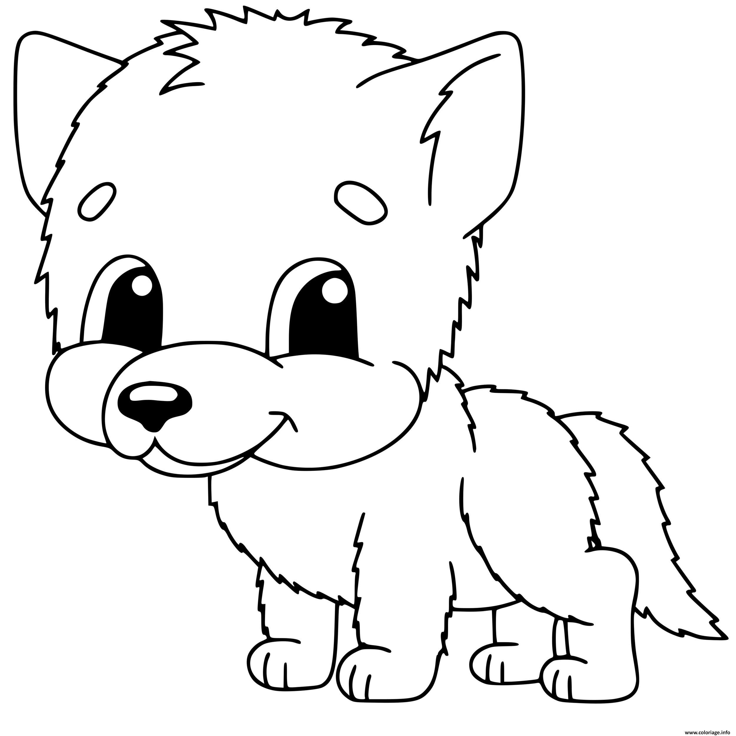 Coloriage Bebe Loup Maternelle Mignon Dessin Loup à imprimer