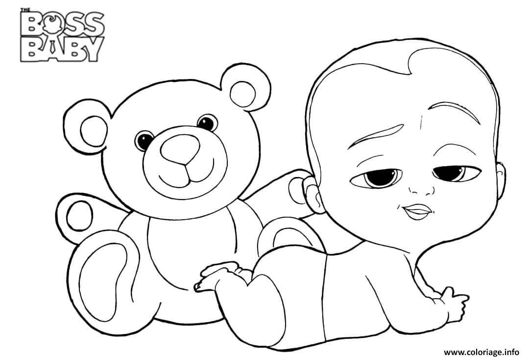 Dessin boss baby and teddy a4 Coloriage Gratuit à Imprimer