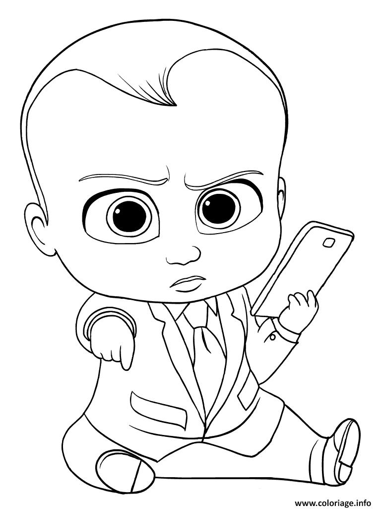 Dessin baby boss avec son telephone portable Coloriage Gratuit à Imprimer