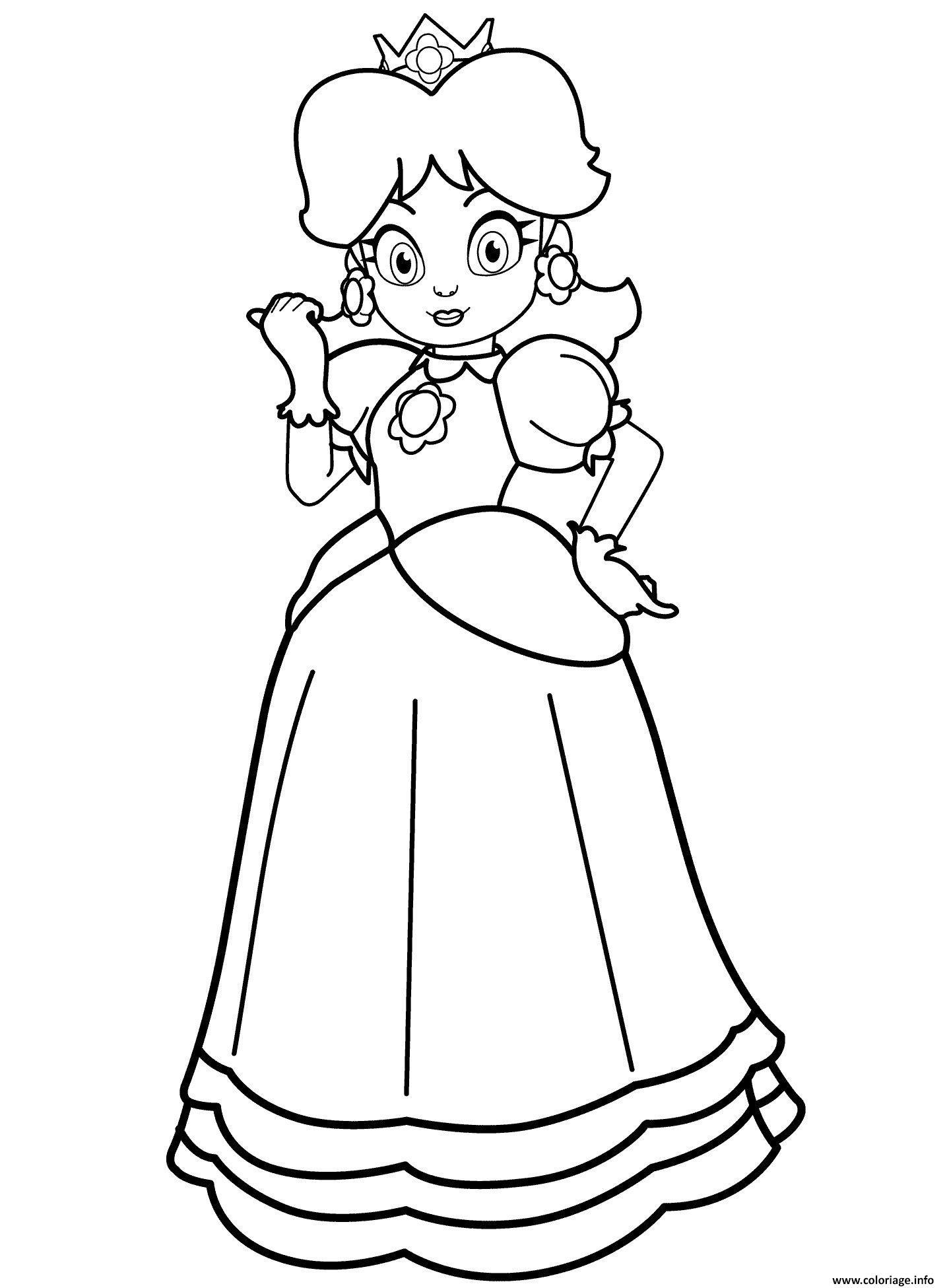 Coloriage Princesse Peach Du Royaume Champignon Dessin Princesse à ...