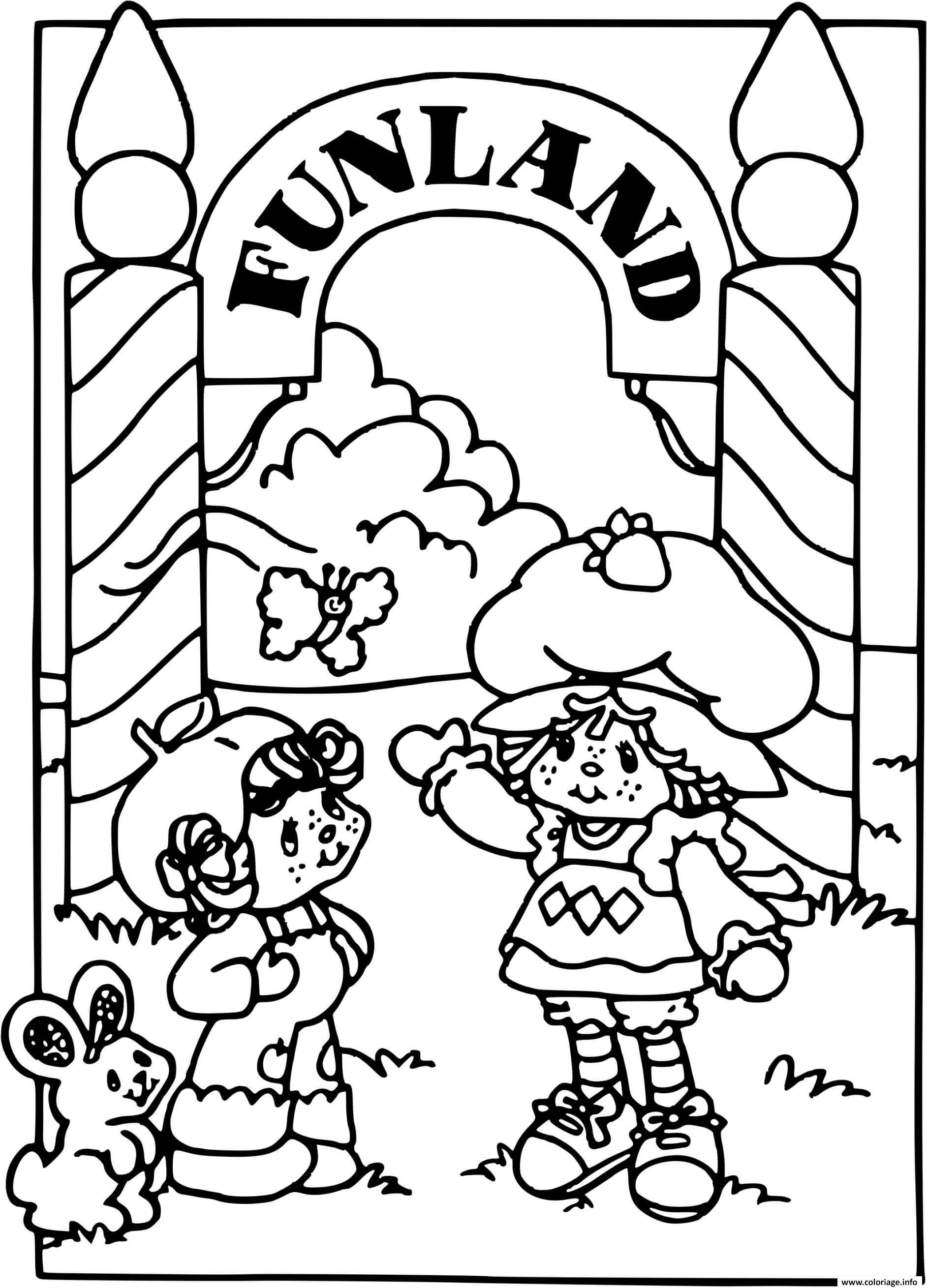 Dessin Charlotte aux fraises a Funland Coloriage Gratuit à Imprimer
