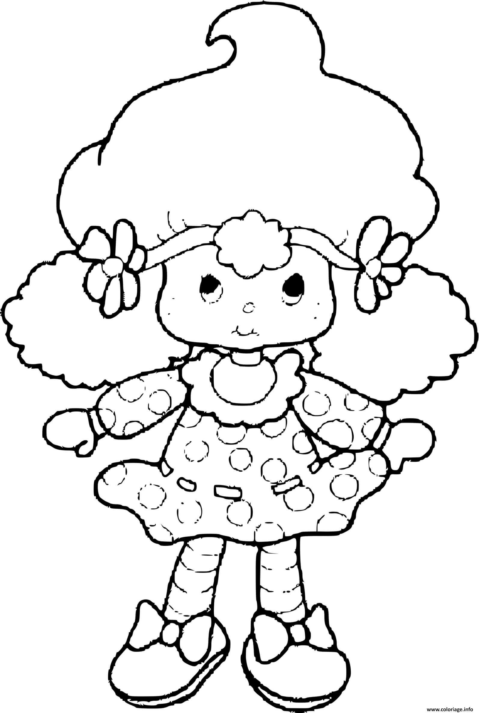 Dessin poupee Charlotte aux fraises  Coloriage Gratuit à Imprimer