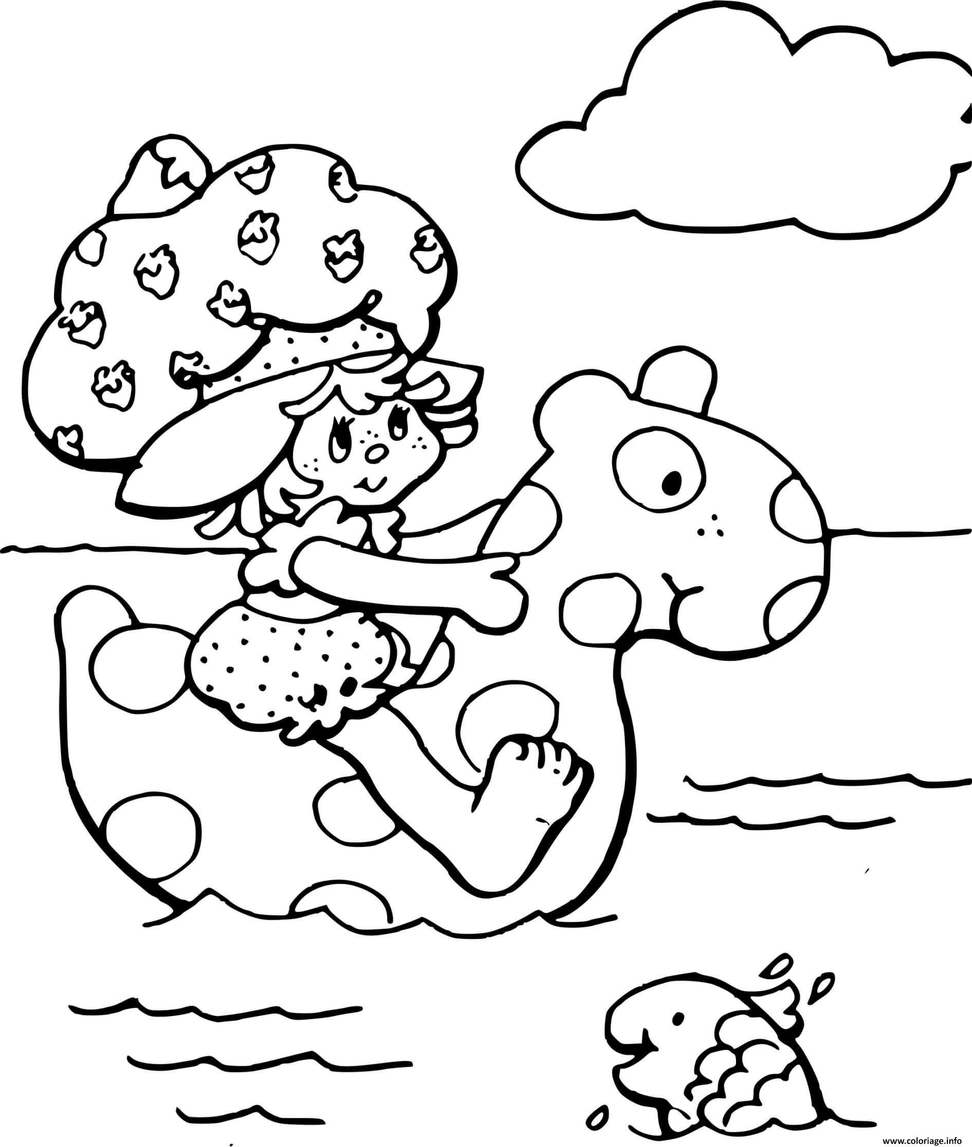 Dessin Charlotte aux fraises a la mer Coloriage Gratuit à Imprimer