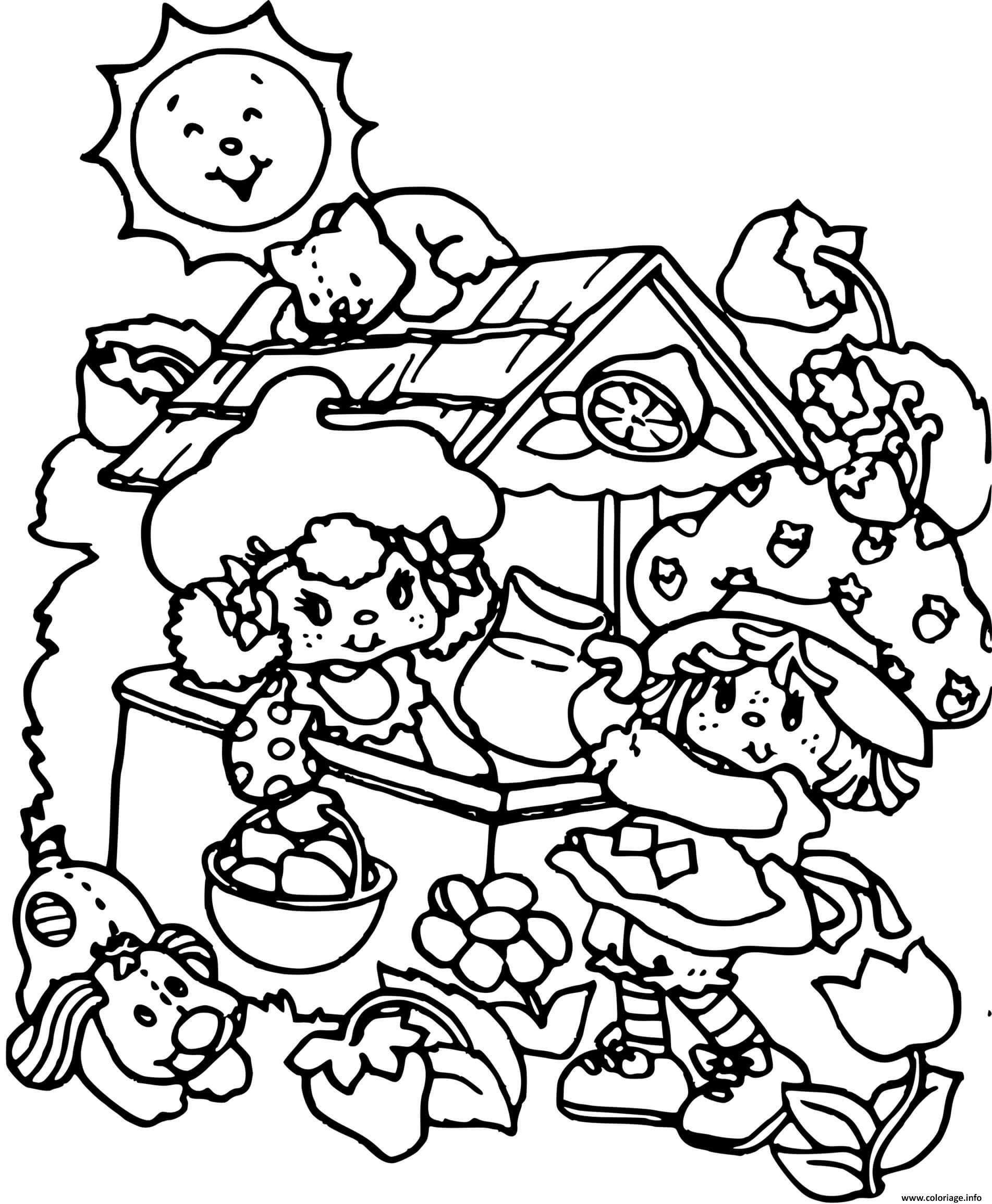 Dessin Charlotte aux fraises et ses amis Coloriage Gratuit à Imprimer
