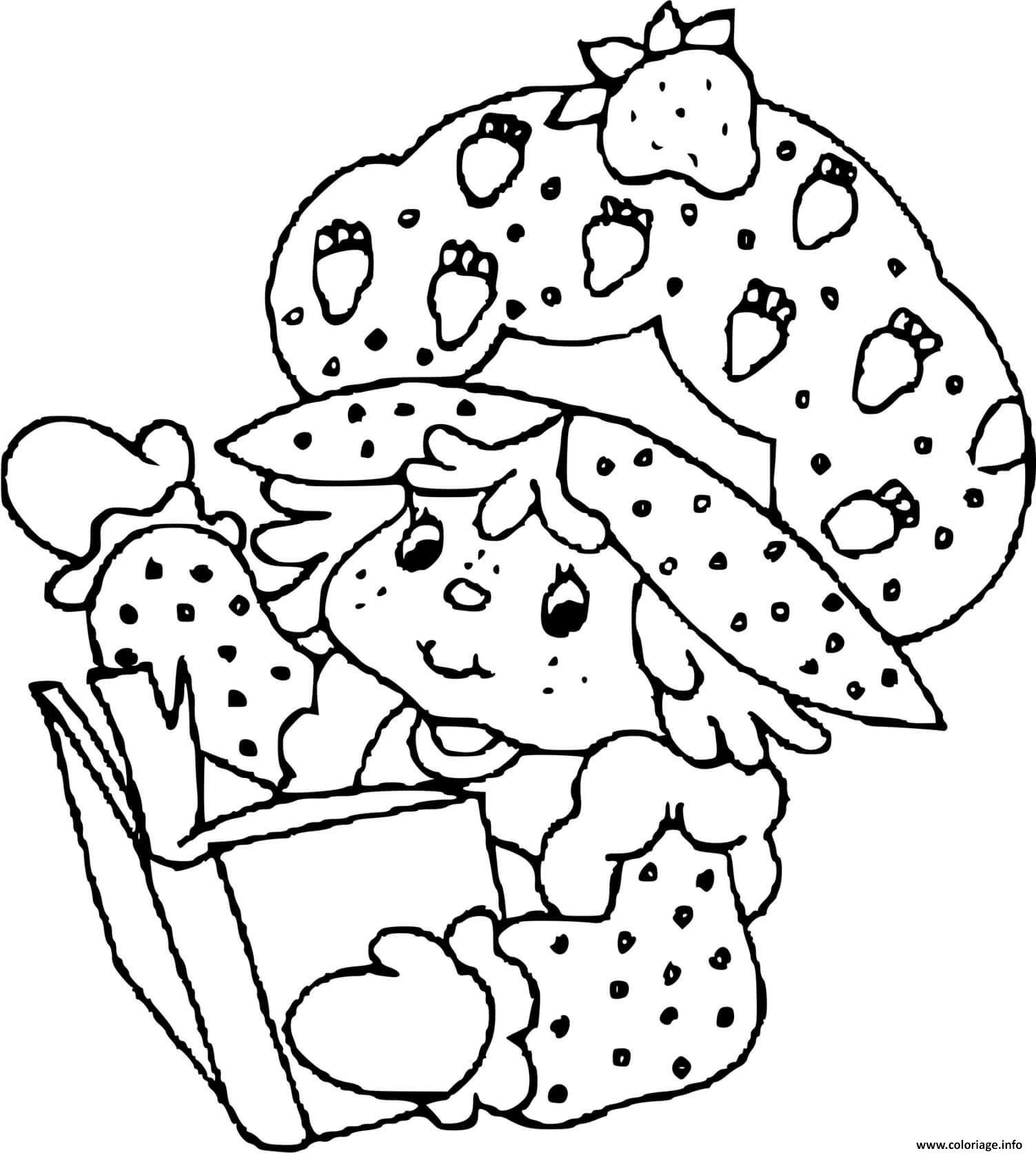 Dessin Charlotte aux fraises lit un livre Coloriage Gratuit à Imprimer
