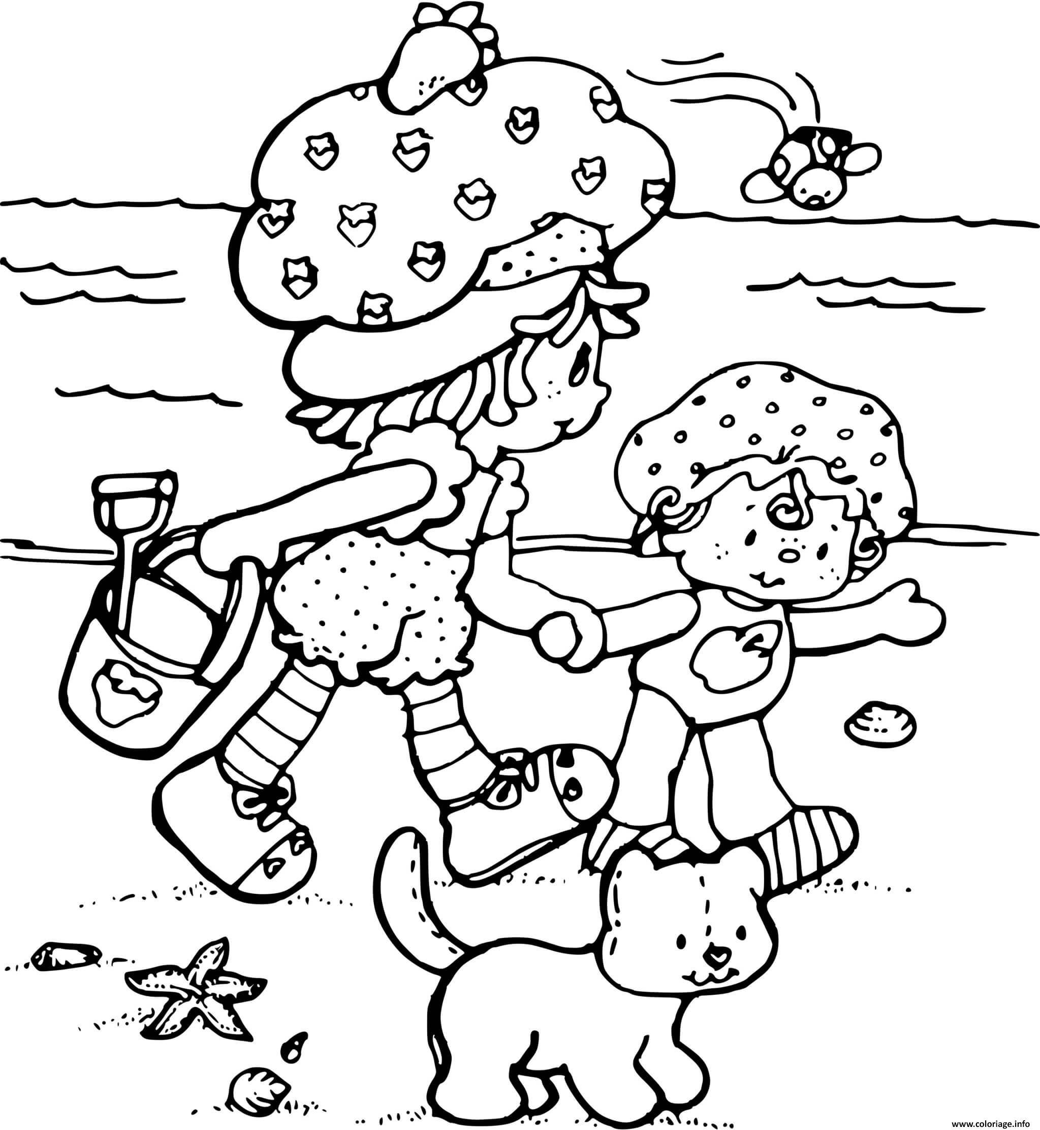 Dessin Charlotte aux fraises a la plage Coloriage Gratuit à Imprimer
