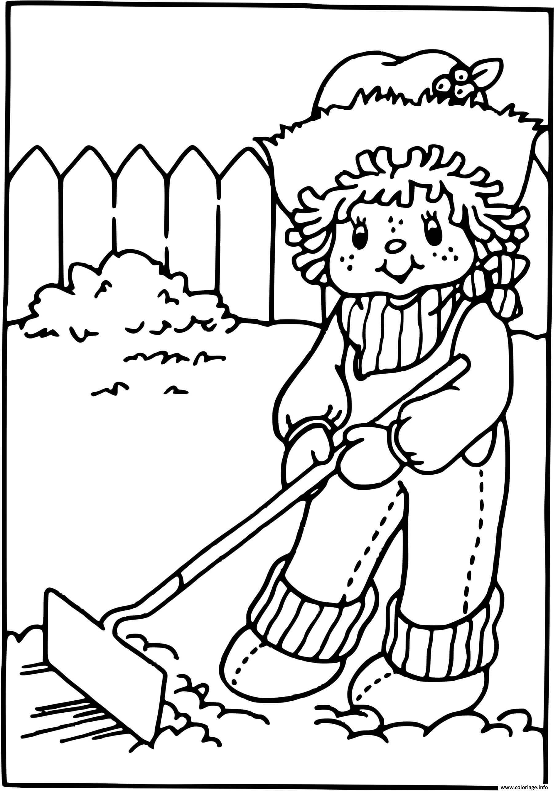 Dessin Charlotte aux fraises fait du jardinage Coloriage Gratuit à Imprimer