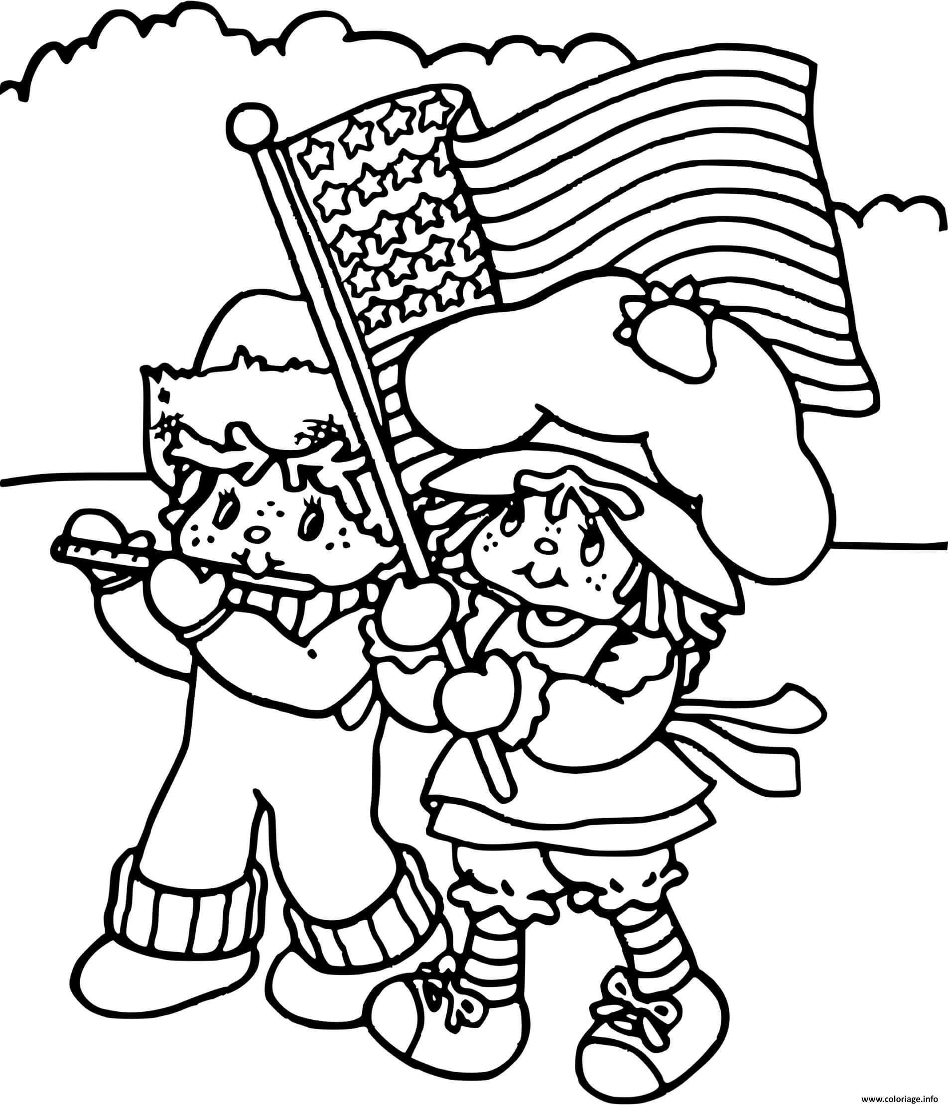 Dessin Charlotte aux fraises avec de drapeau americain Coloriage Gratuit à Imprimer
