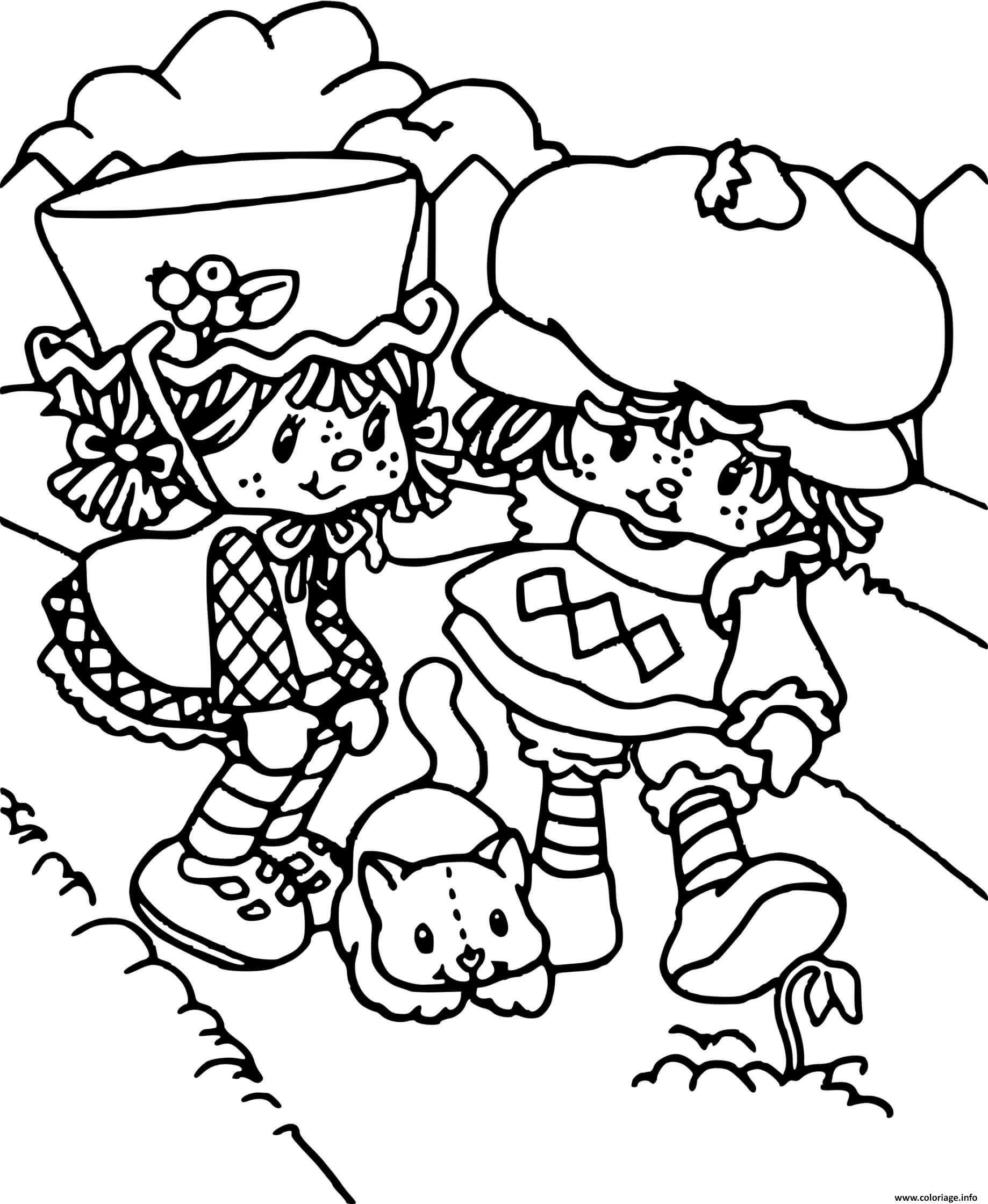 Dessin Charlotte aux fraises et un chat Coloriage Gratuit à Imprimer
