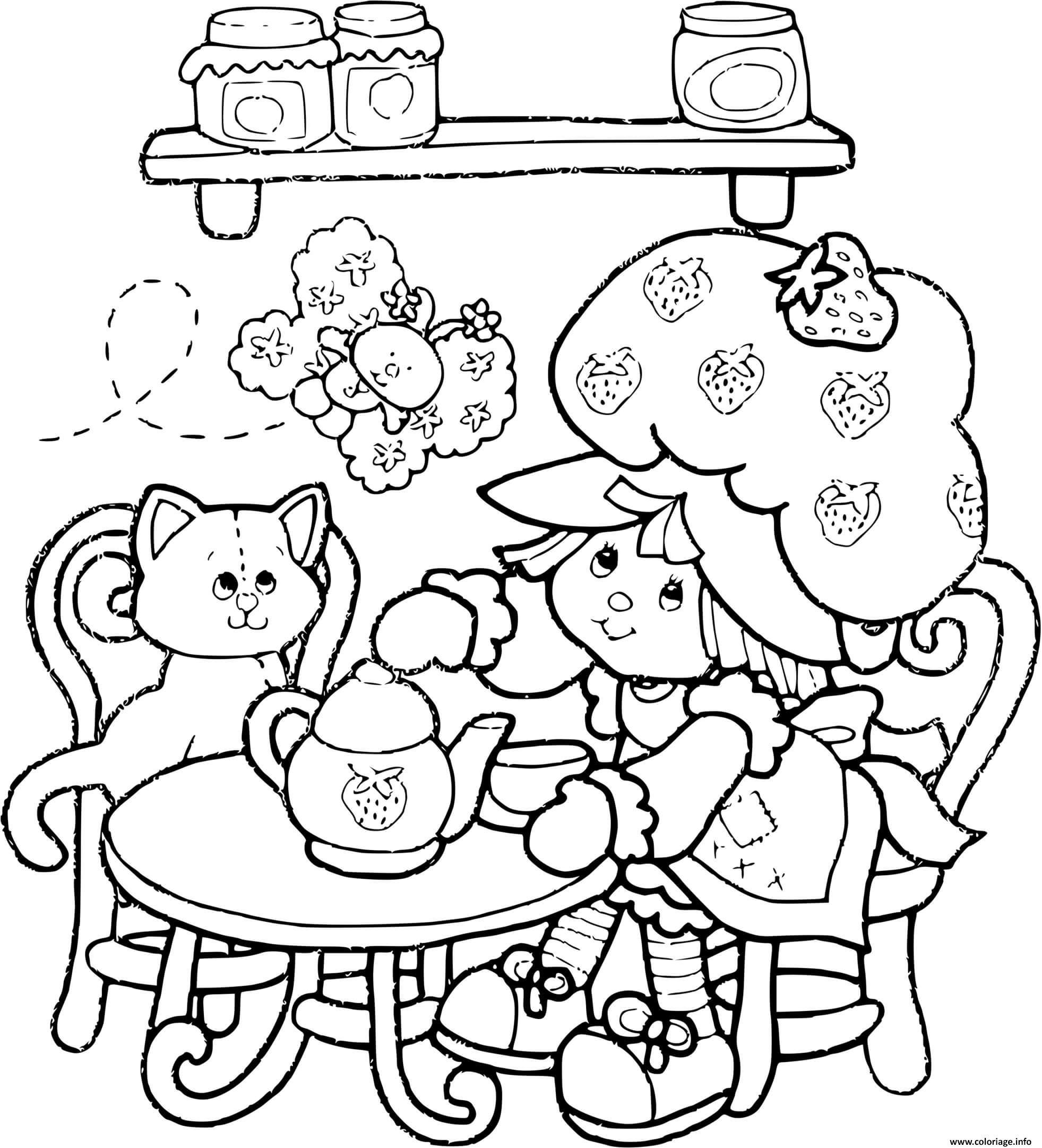 Dessin Charlotte aux fraises joue a la dinette Coloriage Gratuit à Imprimer