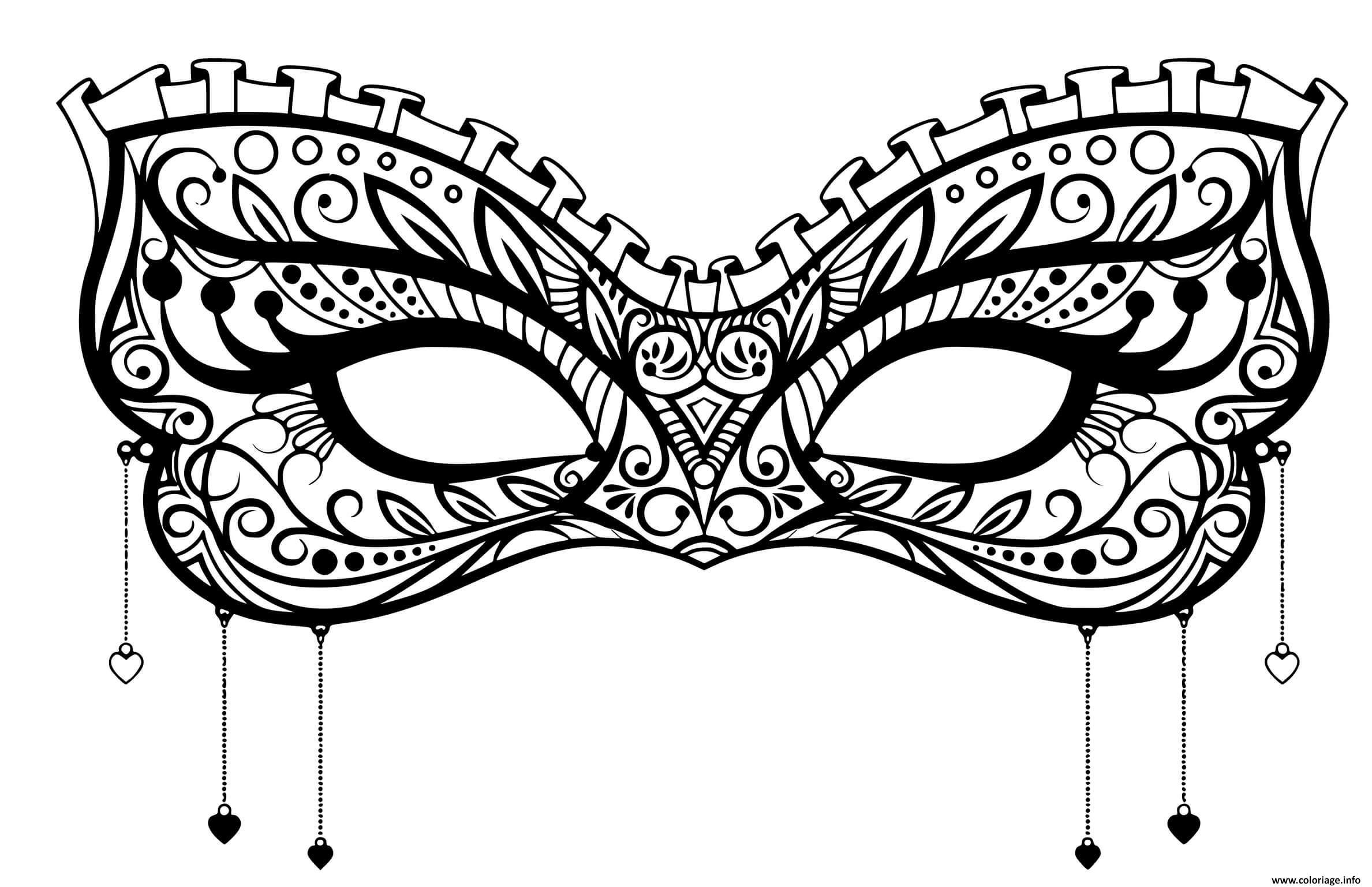 Coloriage Masque Carnaval Dentelle Coeur Discret Dessin Carnaval à ...