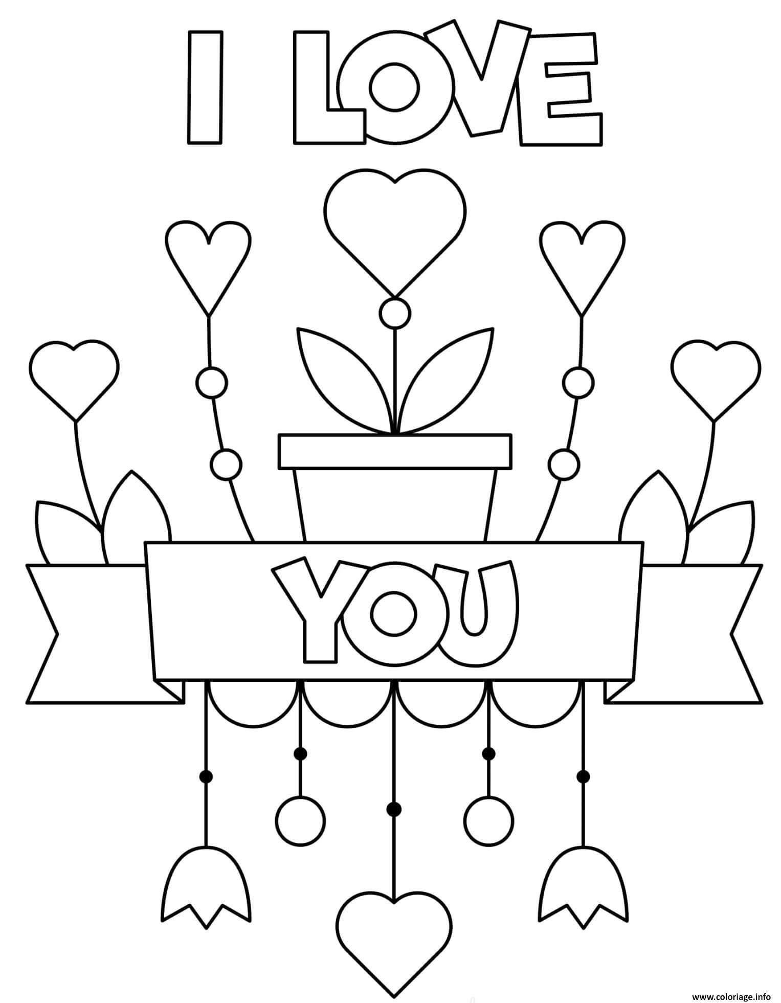Dessin pots de fleurs i love you mandala facile Coloriage Gratuit à Imprimer