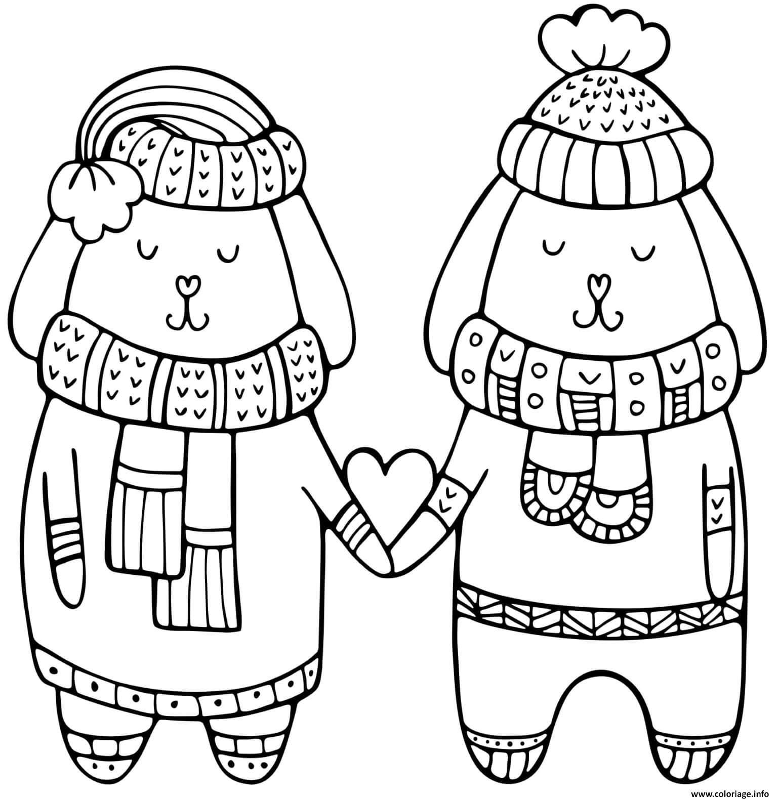 Dessin hiver chiens amoureux saint valentin Coloriage Gratuit à Imprimer