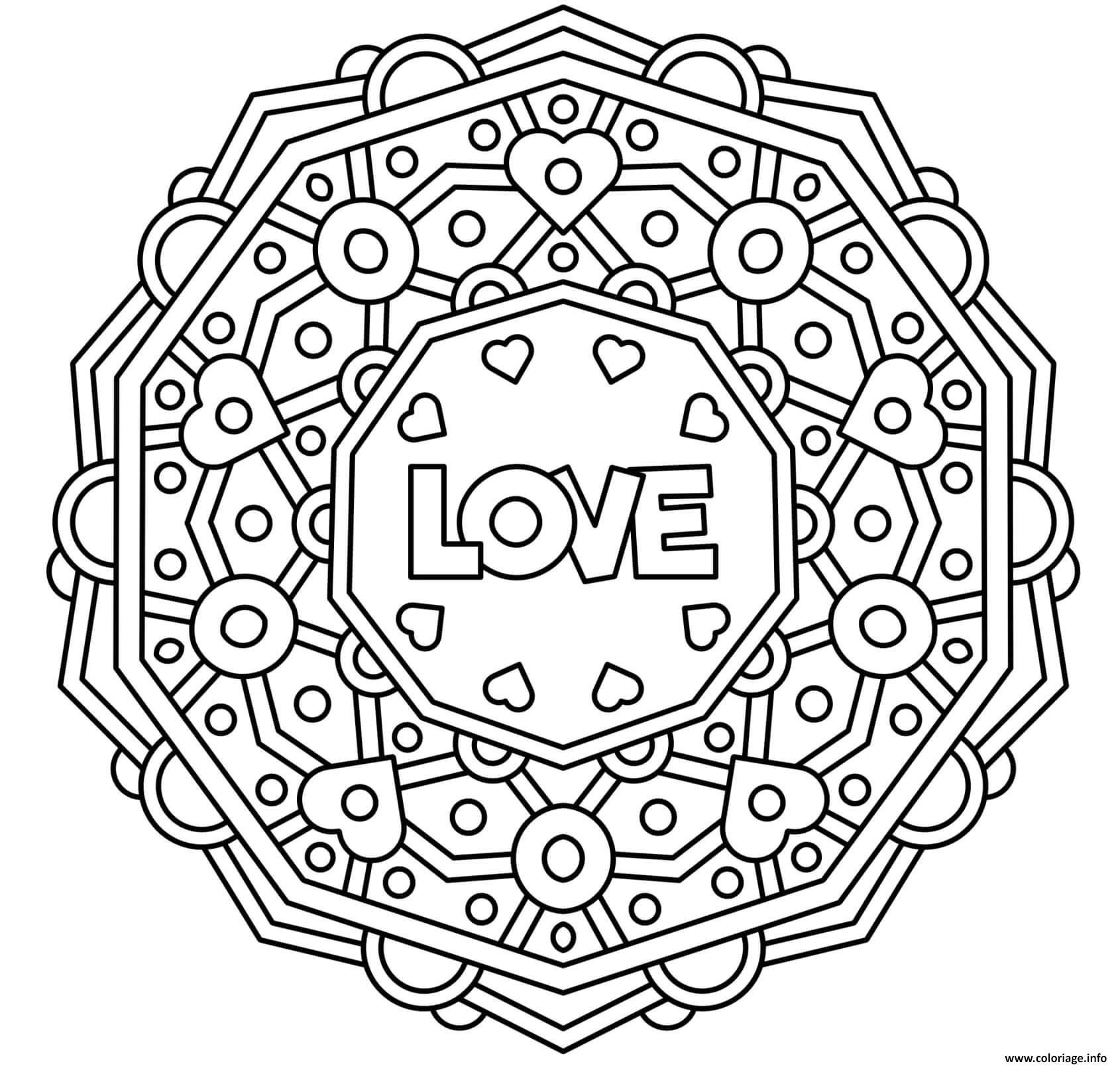 Dessin mandala amour coeur st valentin adulte Coloriage Gratuit à Imprimer