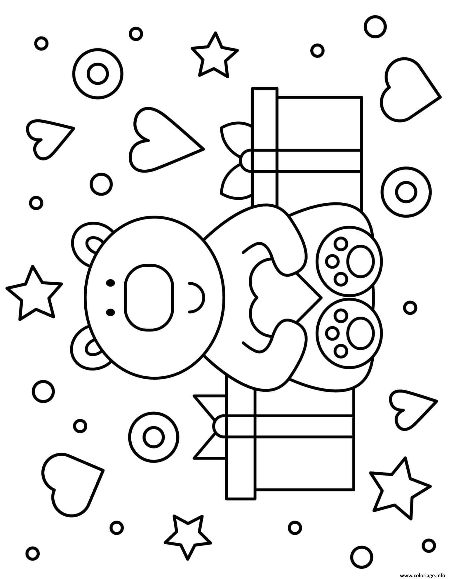 Dessin ours peluche cadeaux coeurs et etoiles maternelle Coloriage Gratuit à Imprimer