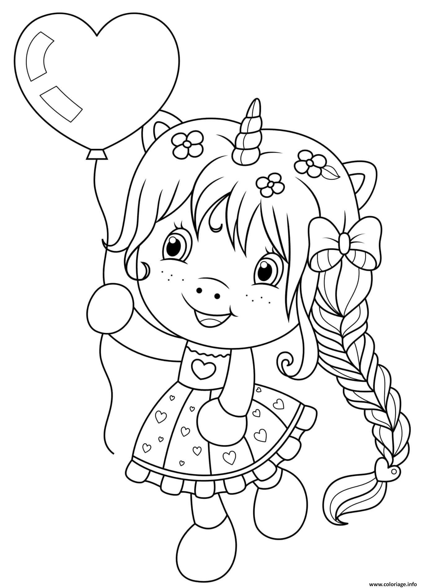 Dessin cartoon fille licorne avec ballon en coeur pour la st valentin Coloriage Gratuit à Imprimer