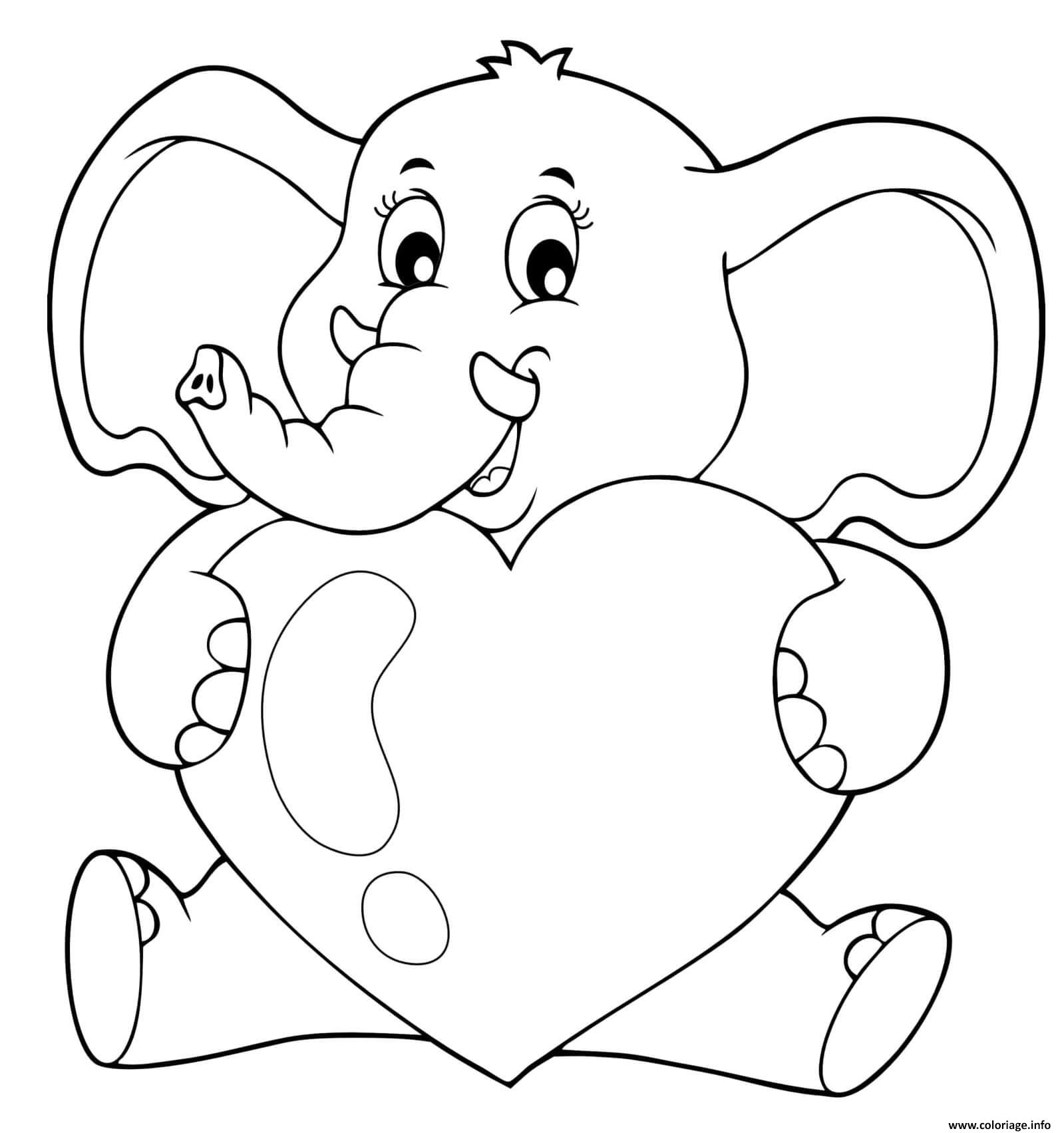 Dessin coeur elephant un grand amoureux Coloriage Gratuit à Imprimer