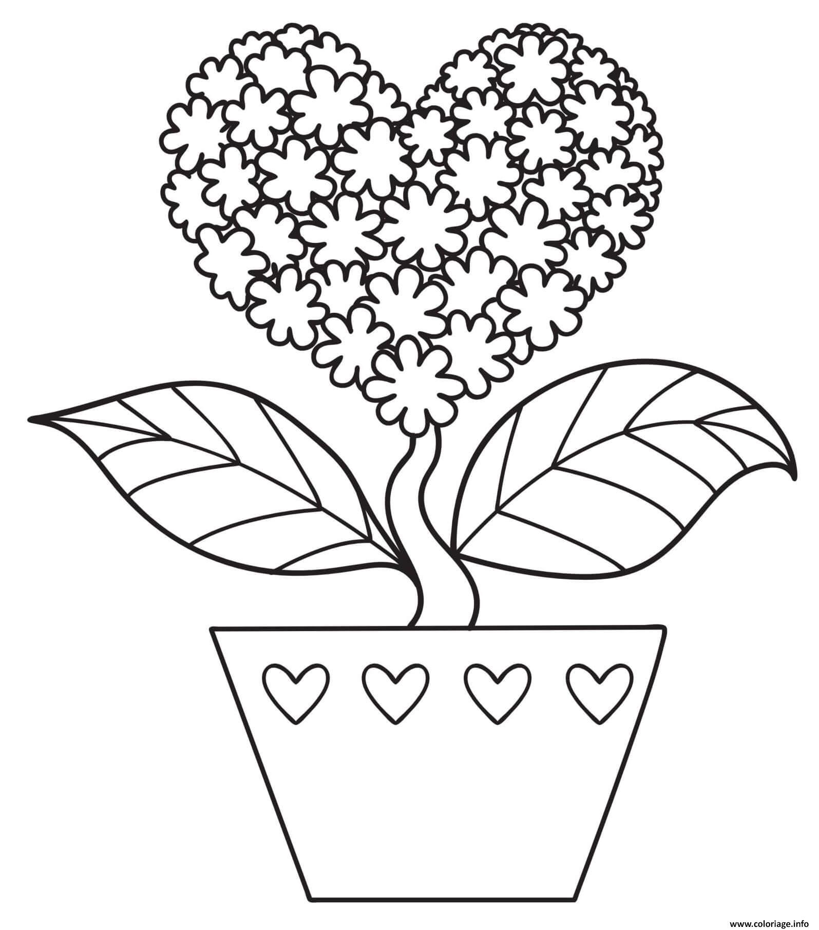 Dessin fleur en forme de coeur nature Coloriage Gratuit à Imprimer