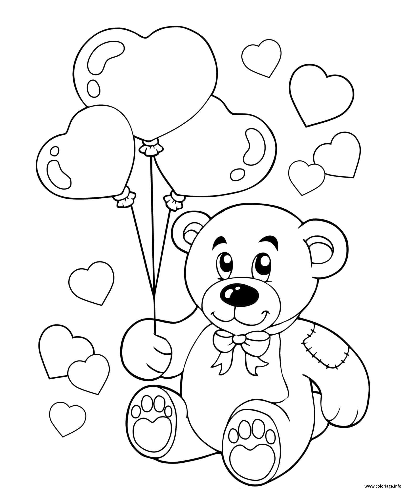 Dessin ours en peluche avec des ballons en forme de coeurs Coloriage Gratuit à Imprimer