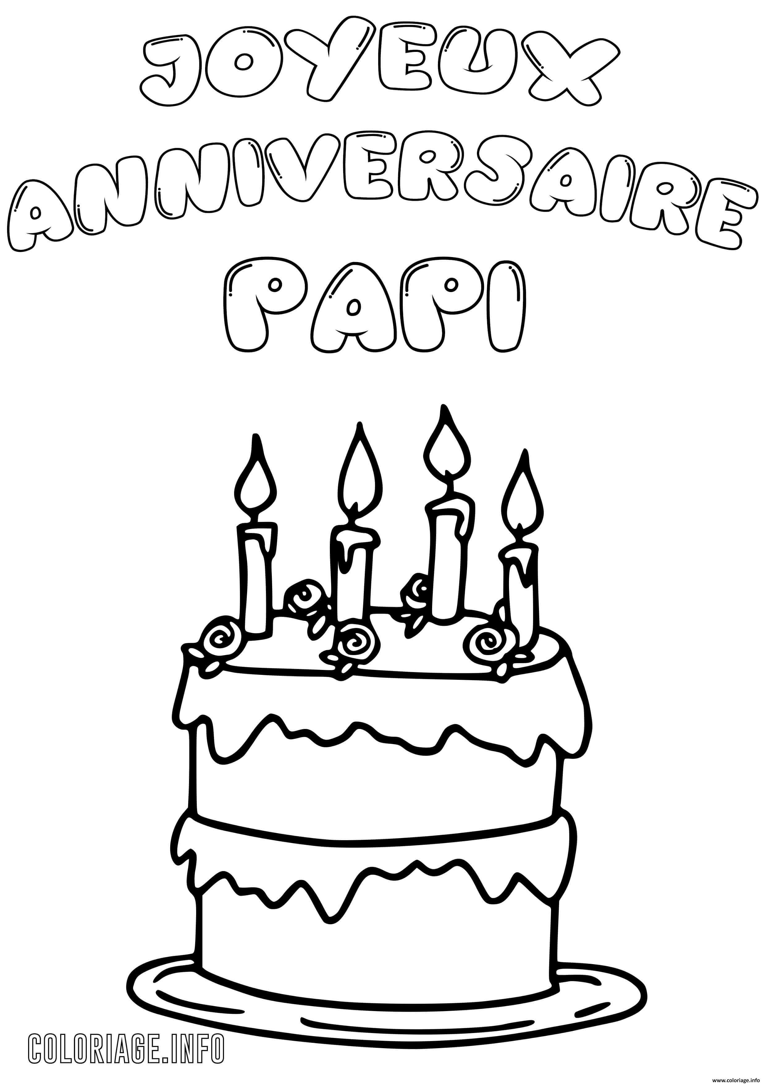 Coloriage Joyeux Anniversaire Papi Papy Dessin Anniversaire A Imprimer