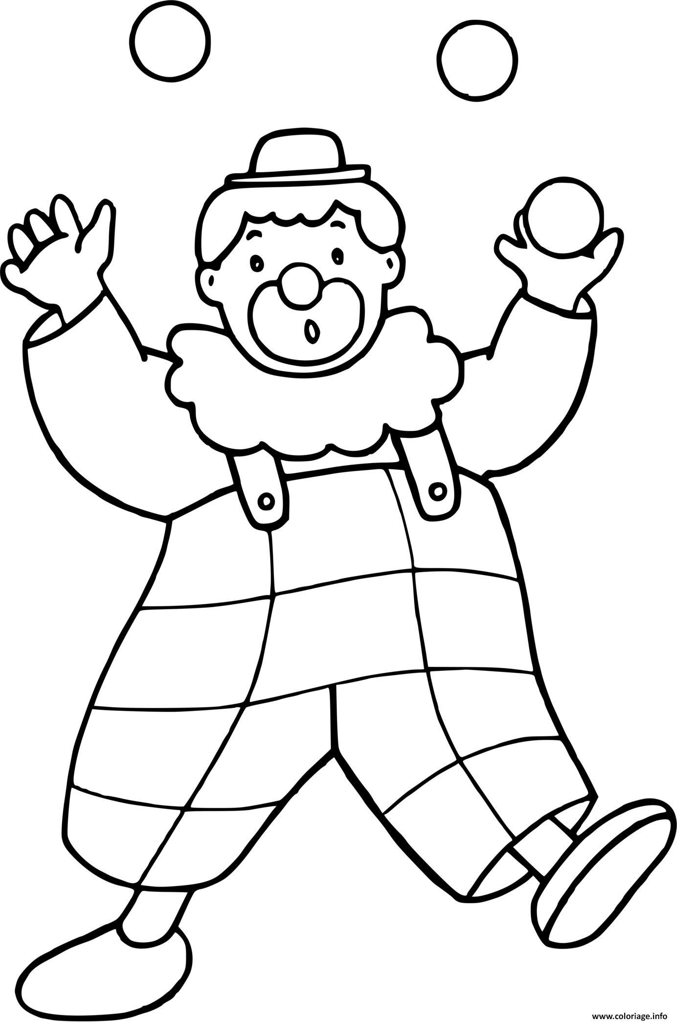 Dessin clown qui jongle avec des balles Coloriage Gratuit à Imprimer