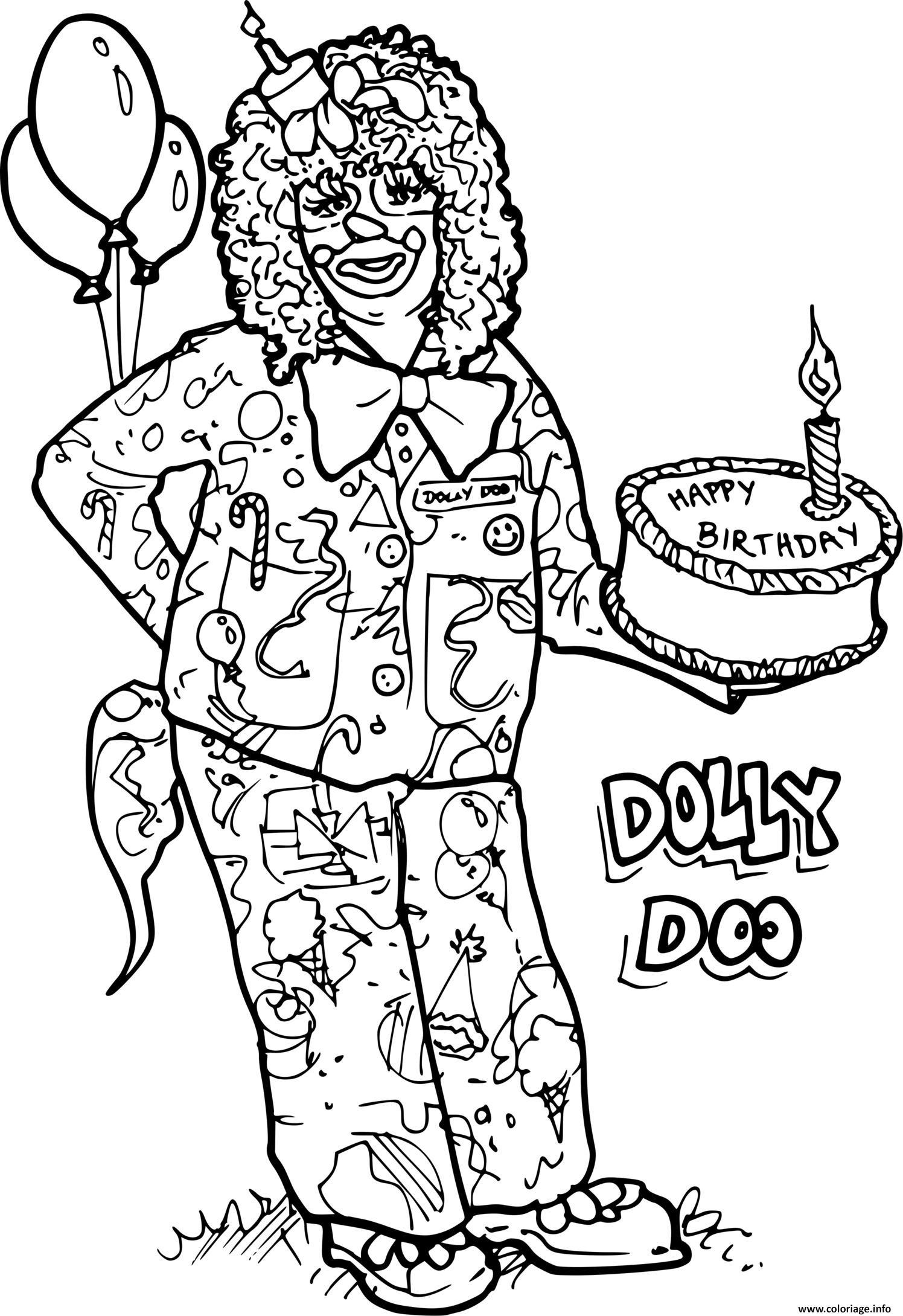 Dessin clown avec un gateau d anniversaire Coloriage Gratuit à Imprimer