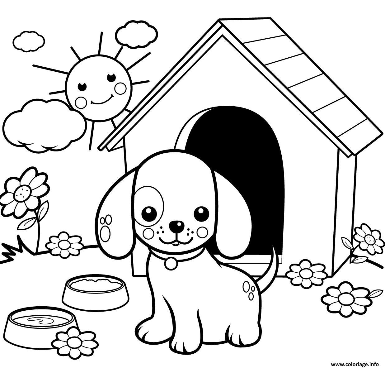 Dessin jolie chien dans sa maison au jardin et soleil eclatant Coloriage Gratuit à Imprimer