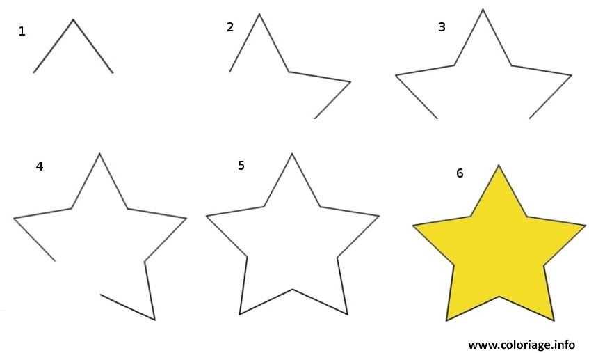 Dessin comment dessiner une etoile facile Coloriage Gratuit à Imprimer