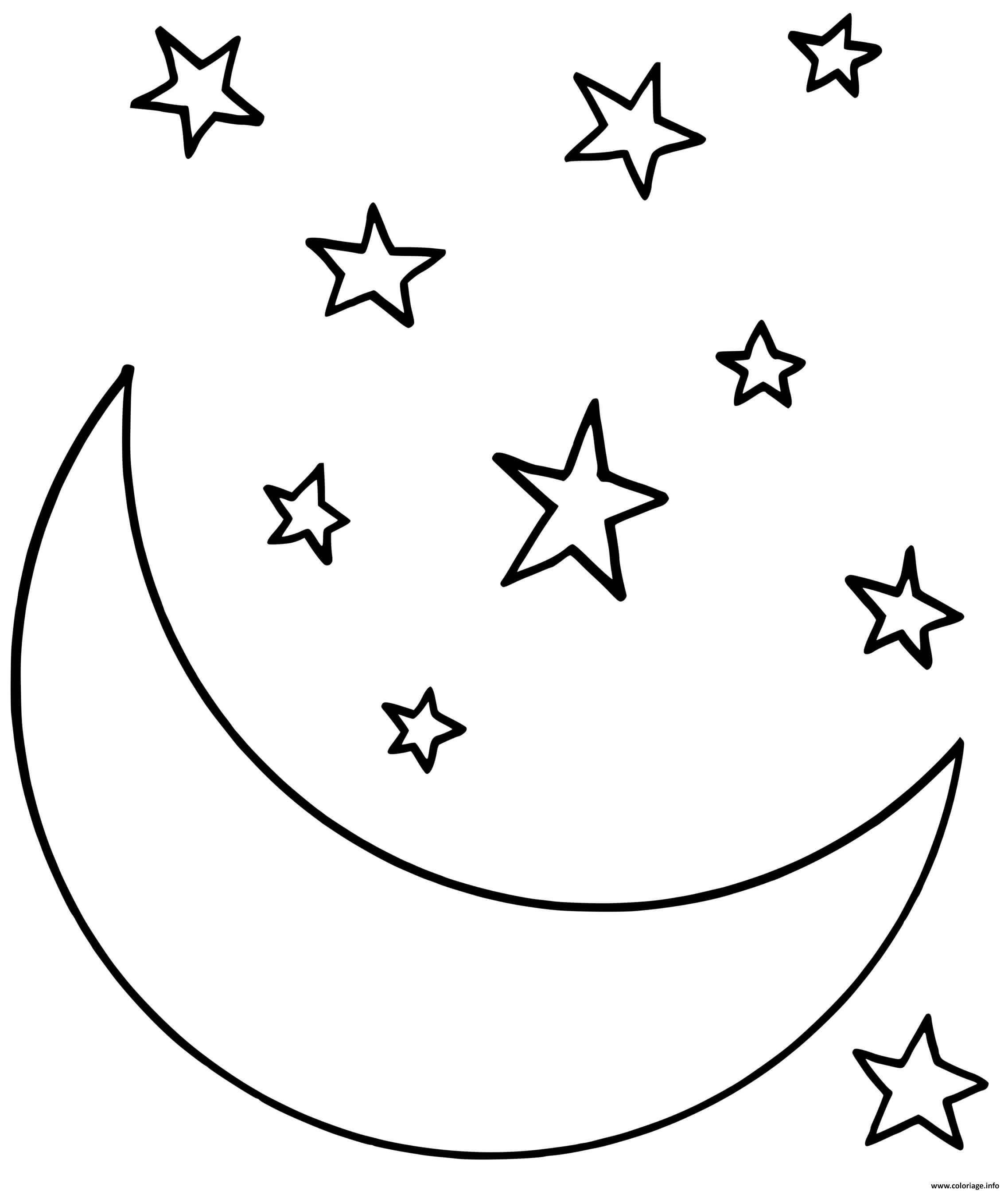 Dessin une nuit avec la lune et des etoiles Coloriage Gratuit à Imprimer