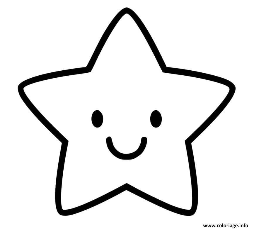 Dessin etoile maternelle facile sourire Coloriage Gratuit à Imprimer