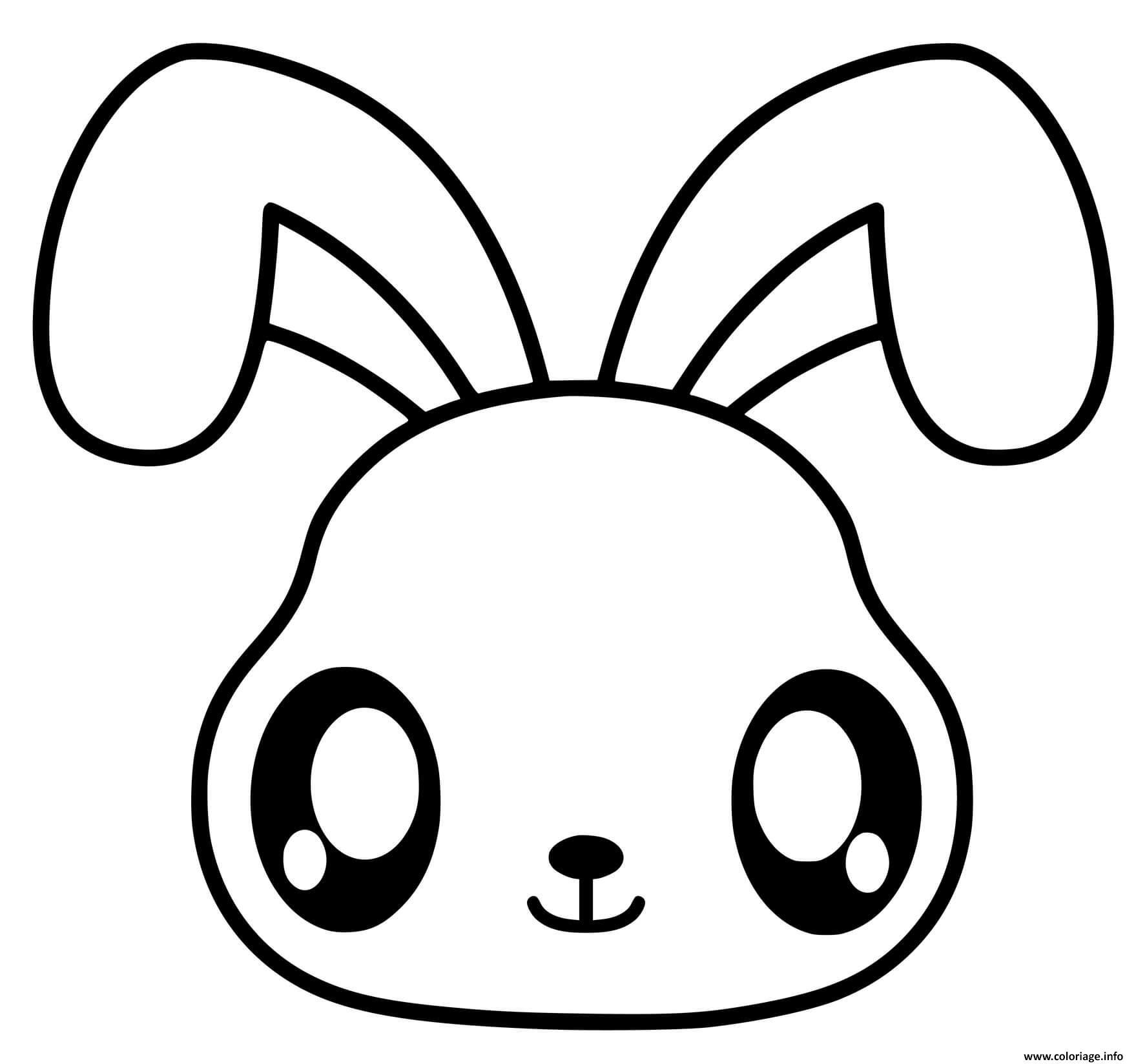 Dessin lapin kawaii facile maternelle Coloriage Gratuit à Imprimer