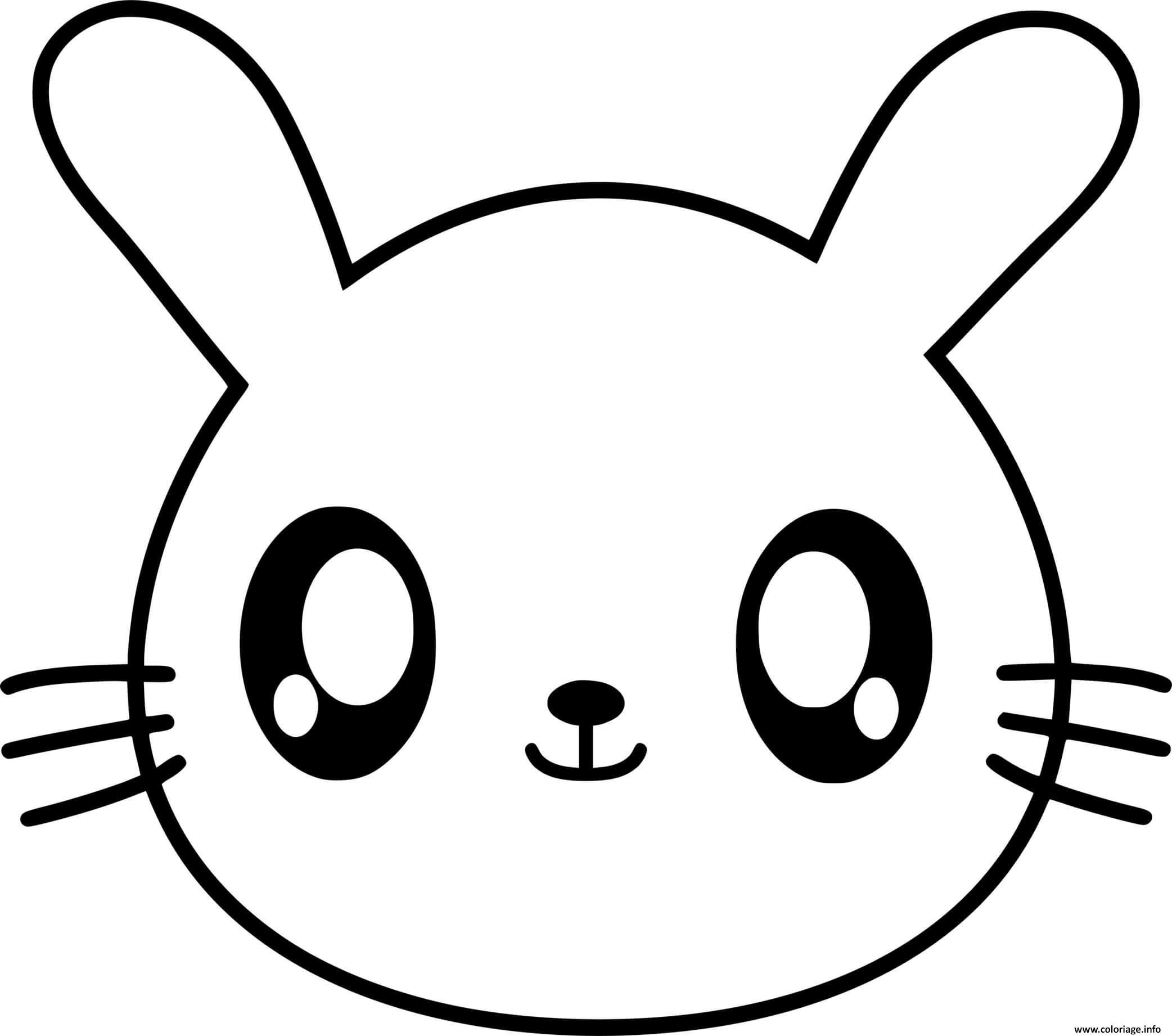 Dessin lapin kawaii avec de gros yeux Coloriage Gratuit à Imprimer