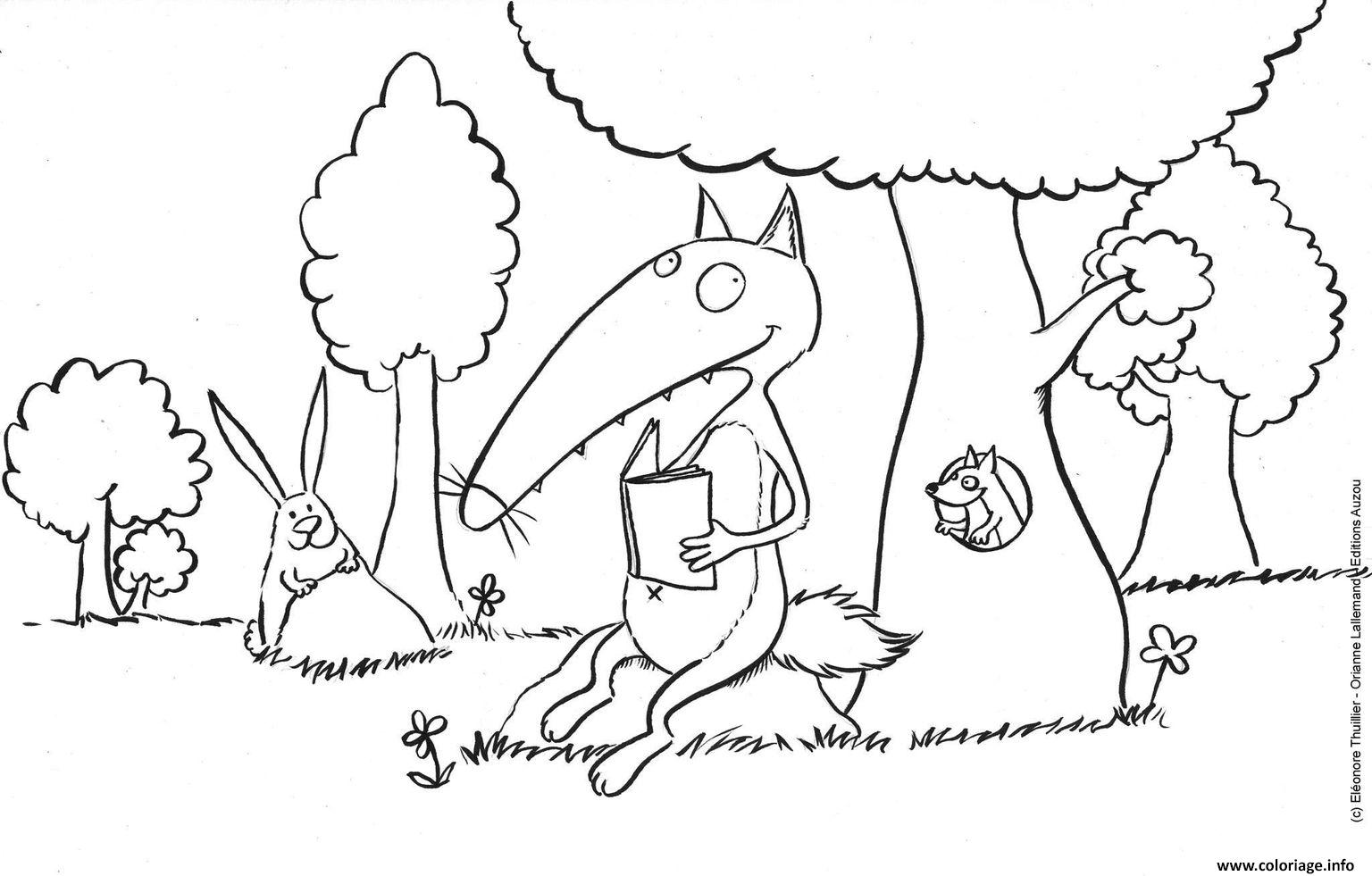 Coloriage Loup Auzou Fait Une Lecture Dans Un Parc Dessin Loup ...
