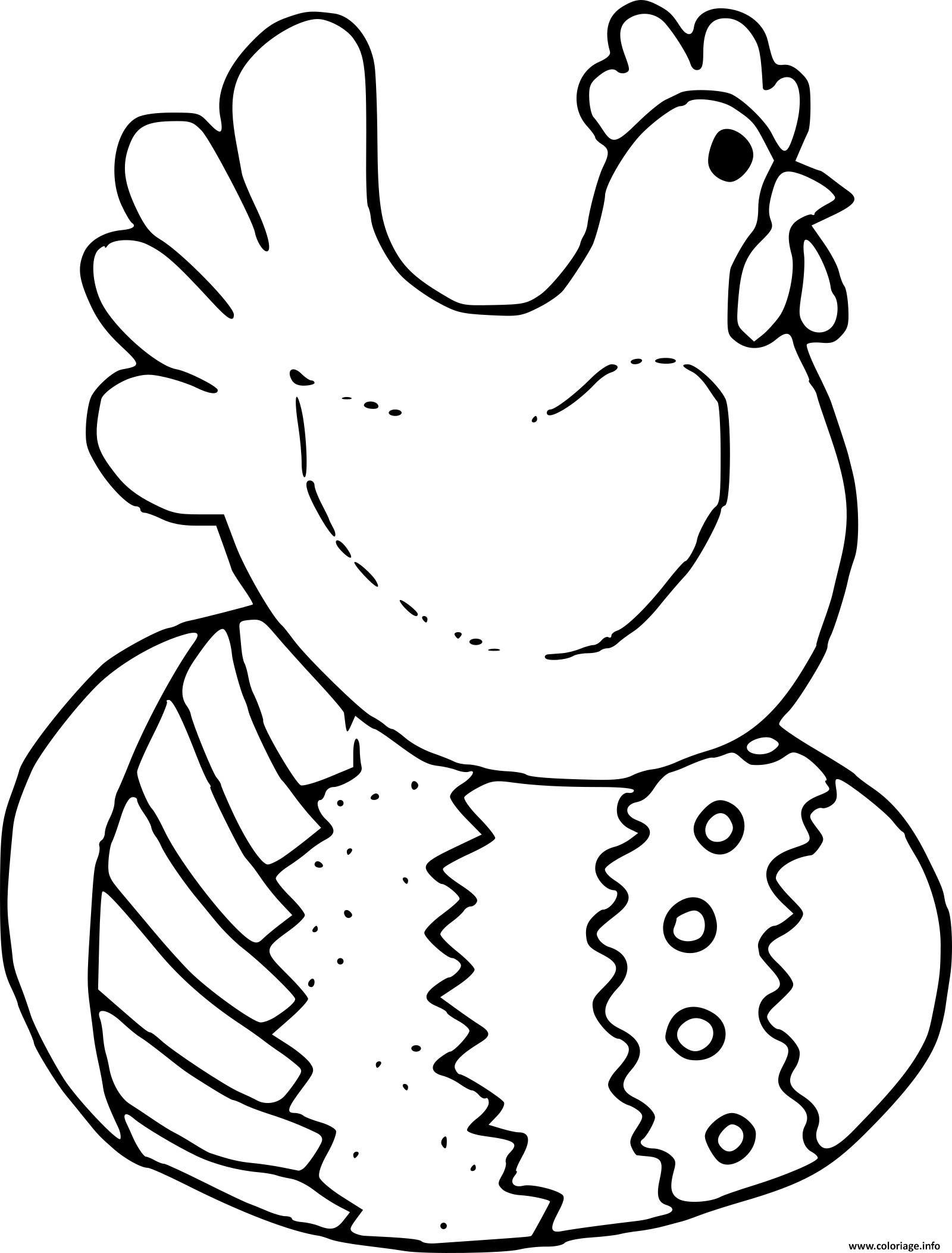 Coloriage oeuf et poule de paques   JeColorie.com