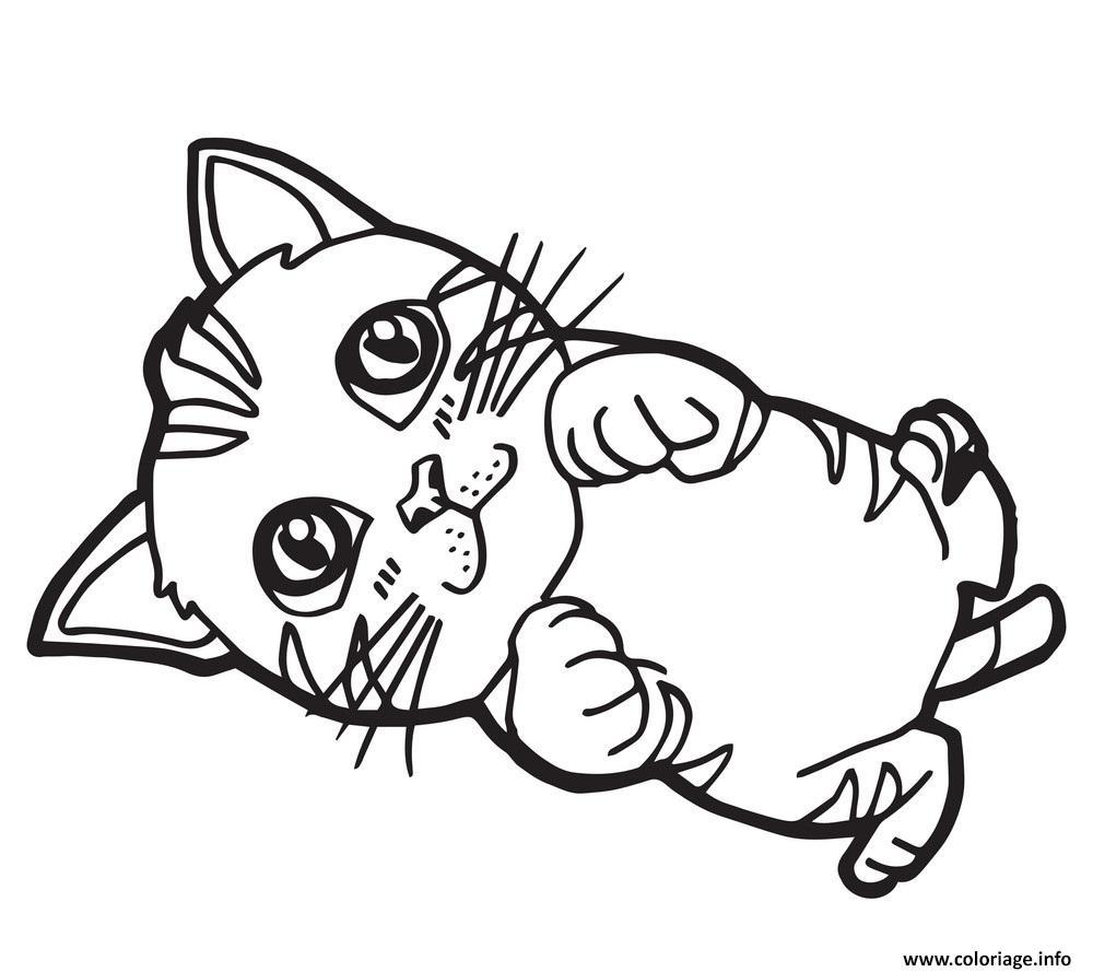 Dessin chaton cartoon de beaux yeux Coloriage Gratuit à Imprimer