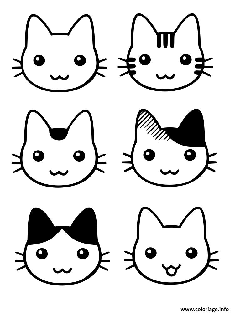 Dessin tete de chaton trop mignon Coloriage Gratuit à Imprimer