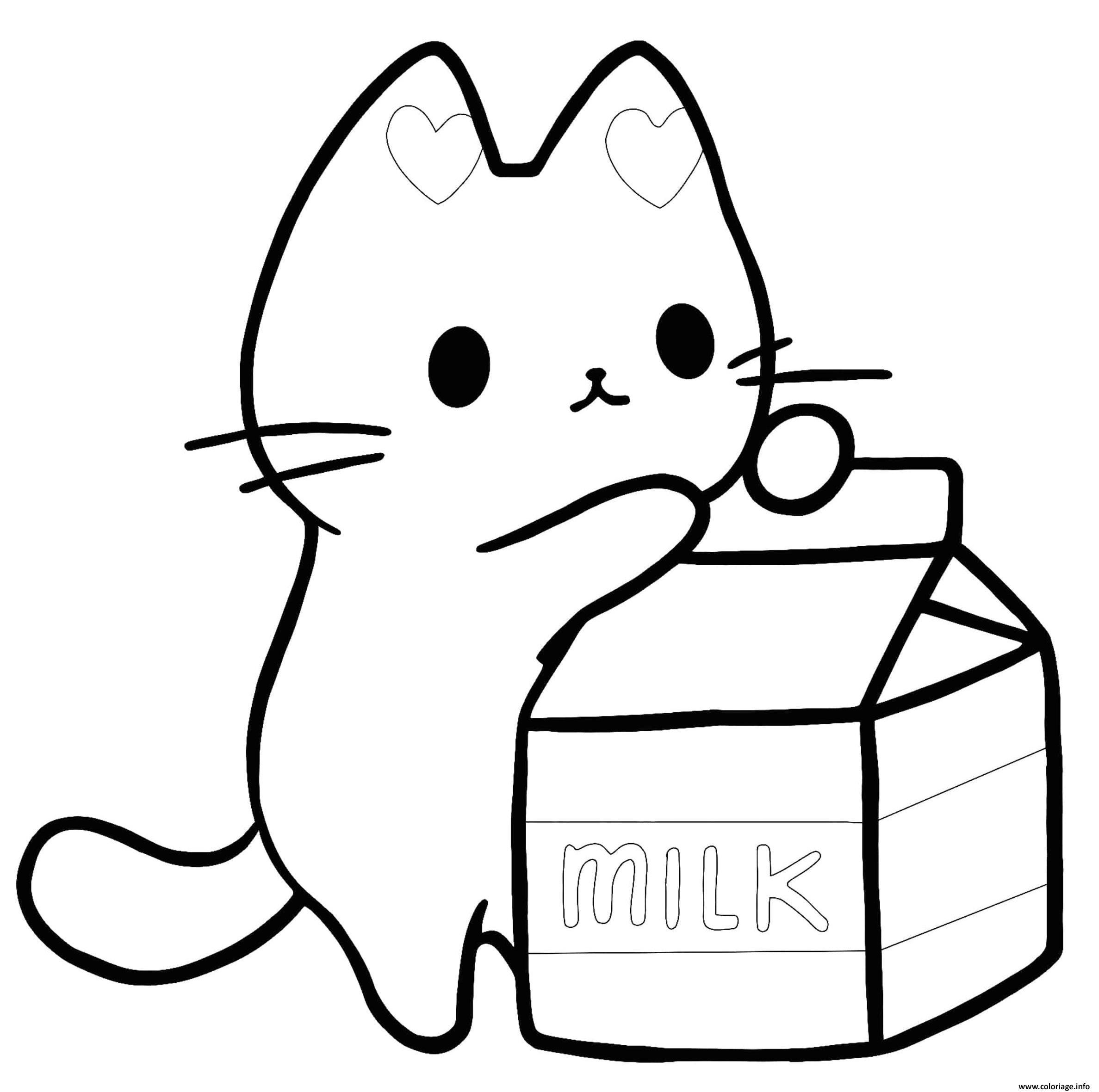Dessin chaton aime le lait Coloriage Gratuit à Imprimer