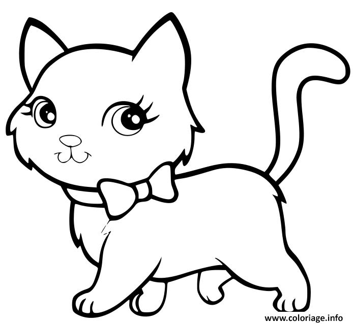 Dessin chaton kawaii super mignon marche de maniere elegante Coloriage Gratuit à Imprimer