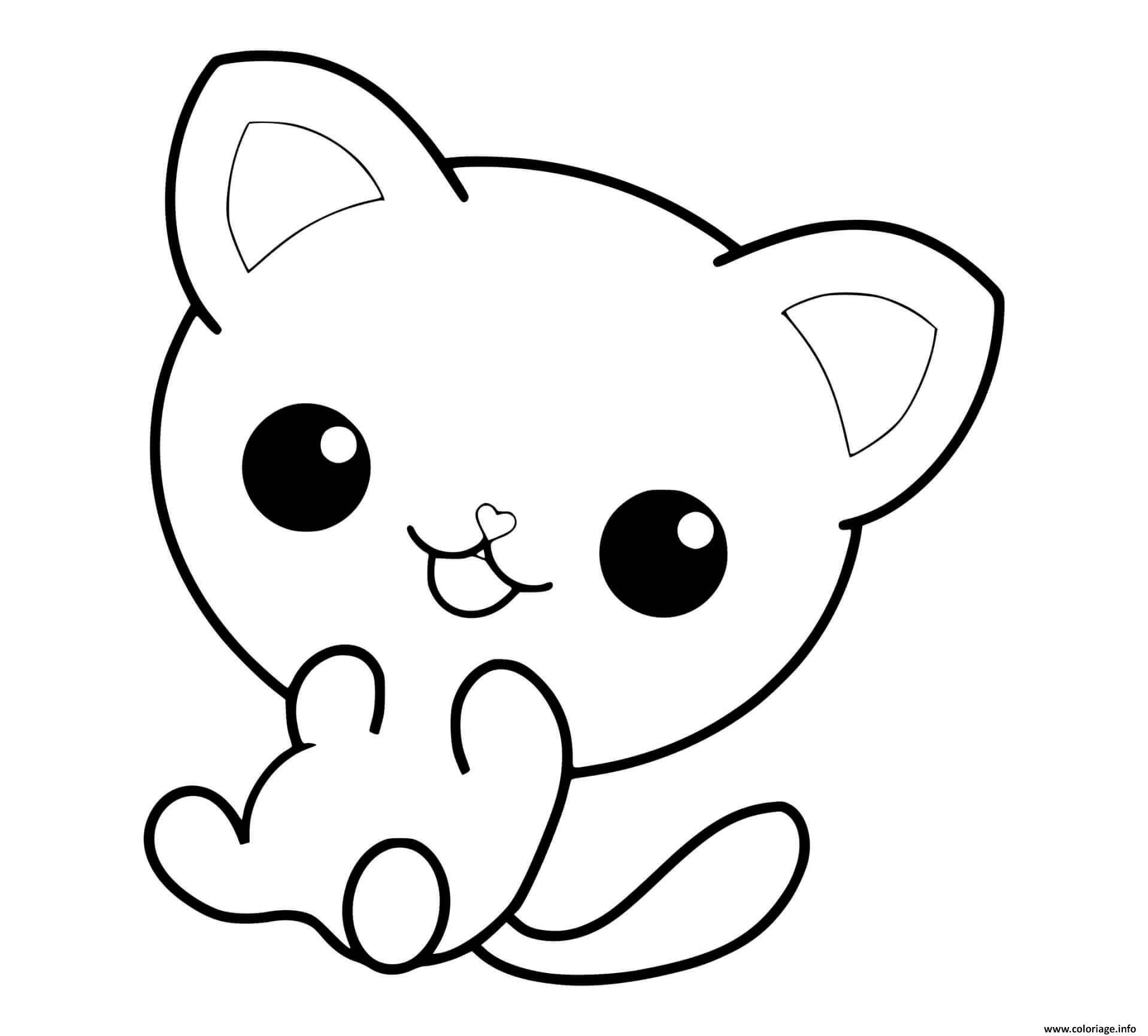 Dessin chaton mignon des yeux adorable Coloriage Gratuit à Imprimer