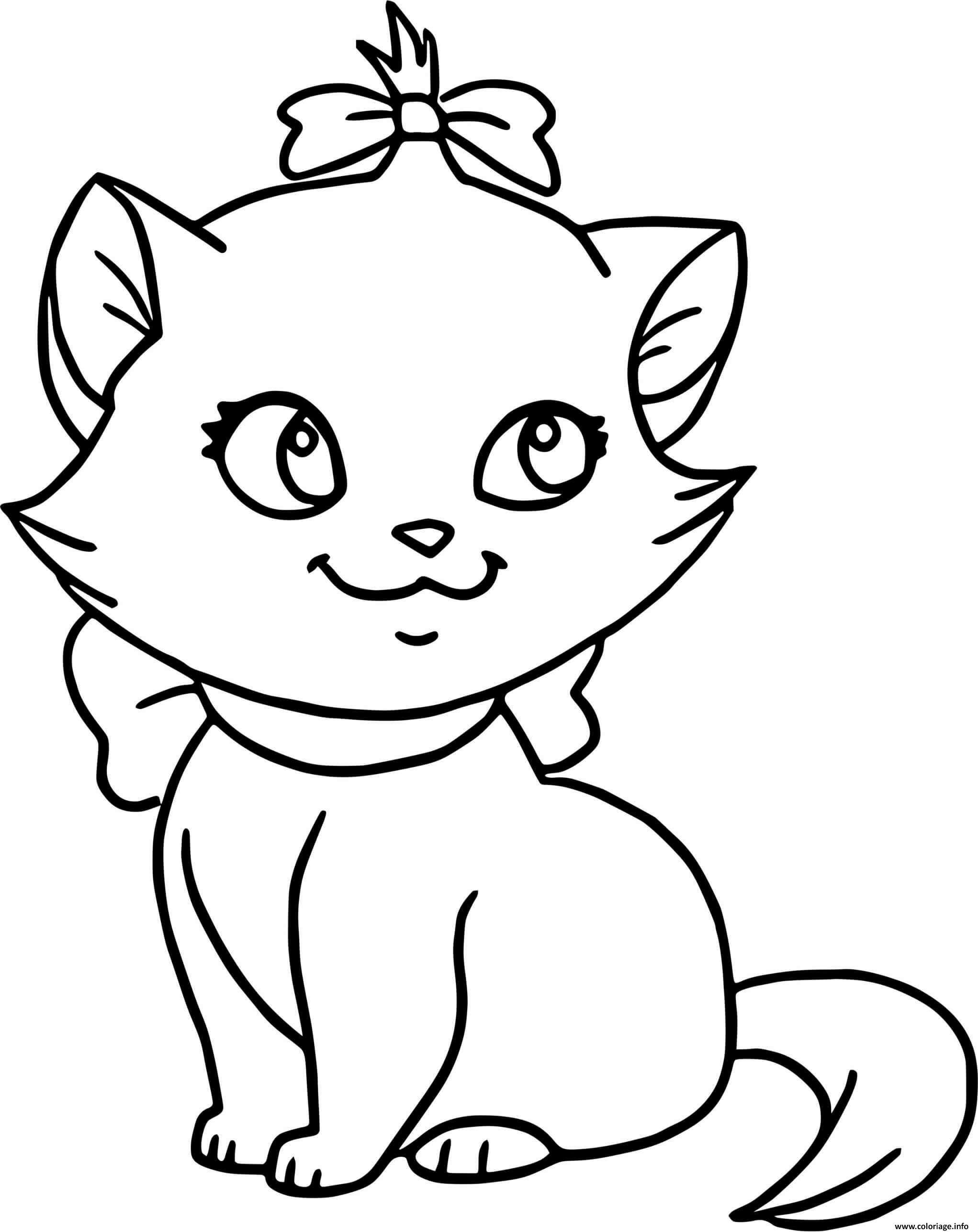 Dessin chaton facile mignon Coloriage Gratuit à Imprimer