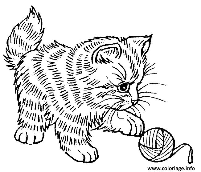 Dessin adorable chaton qui joue Coloriage Gratuit à Imprimer