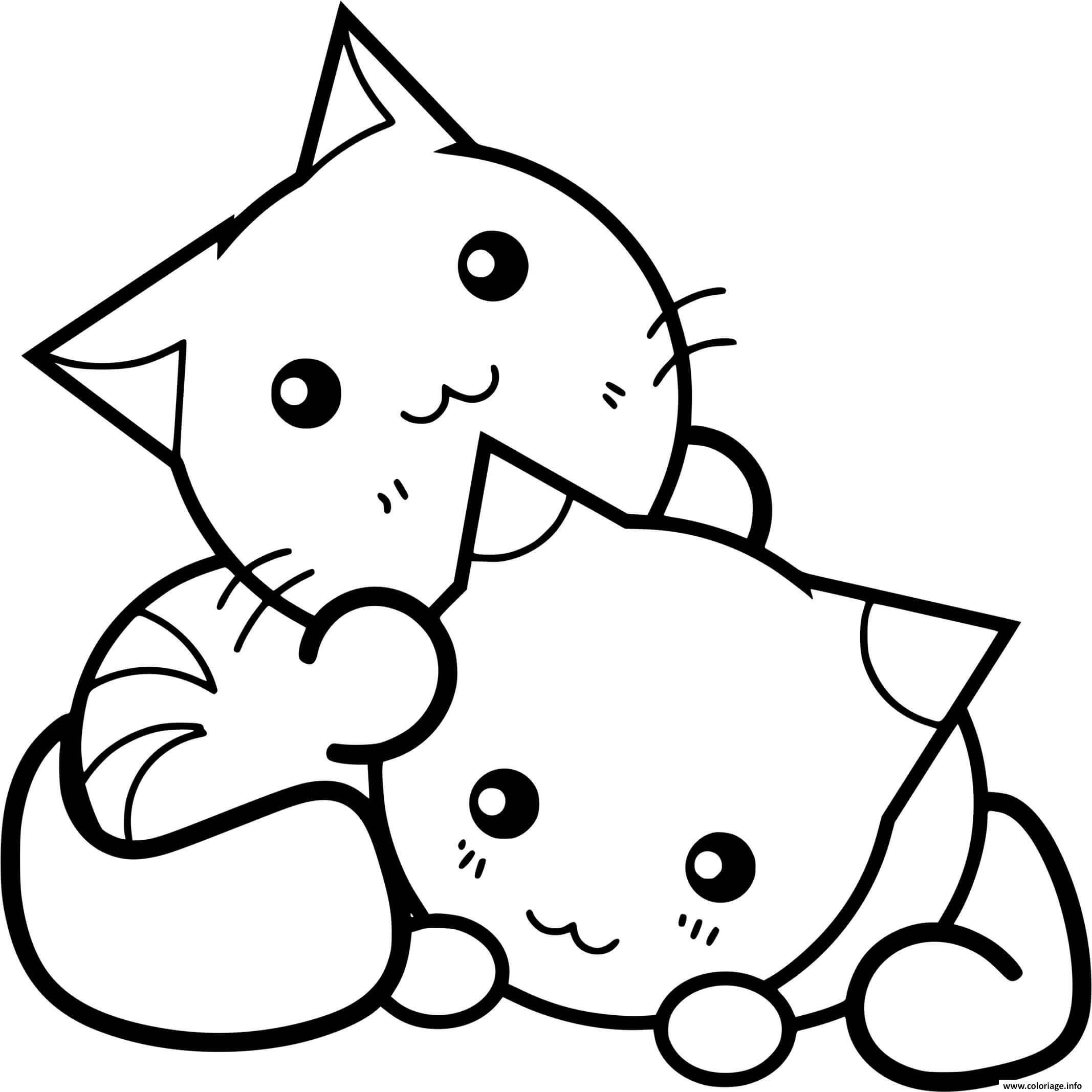 Dessin chat et chaton kawaii mignon Coloriage Gratuit à Imprimer