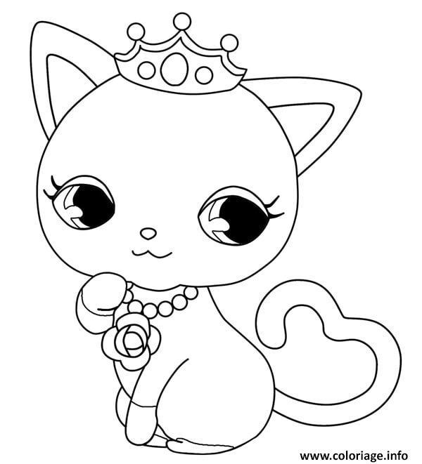Dessin chaton princesse kawaii Coloriage Gratuit à Imprimer