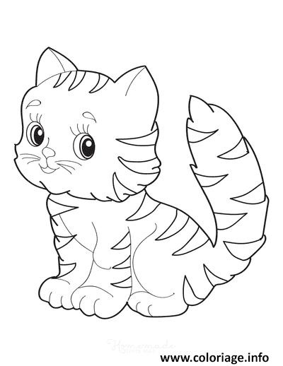 Dessin adorable chaton Coloriage Gratuit à Imprimer