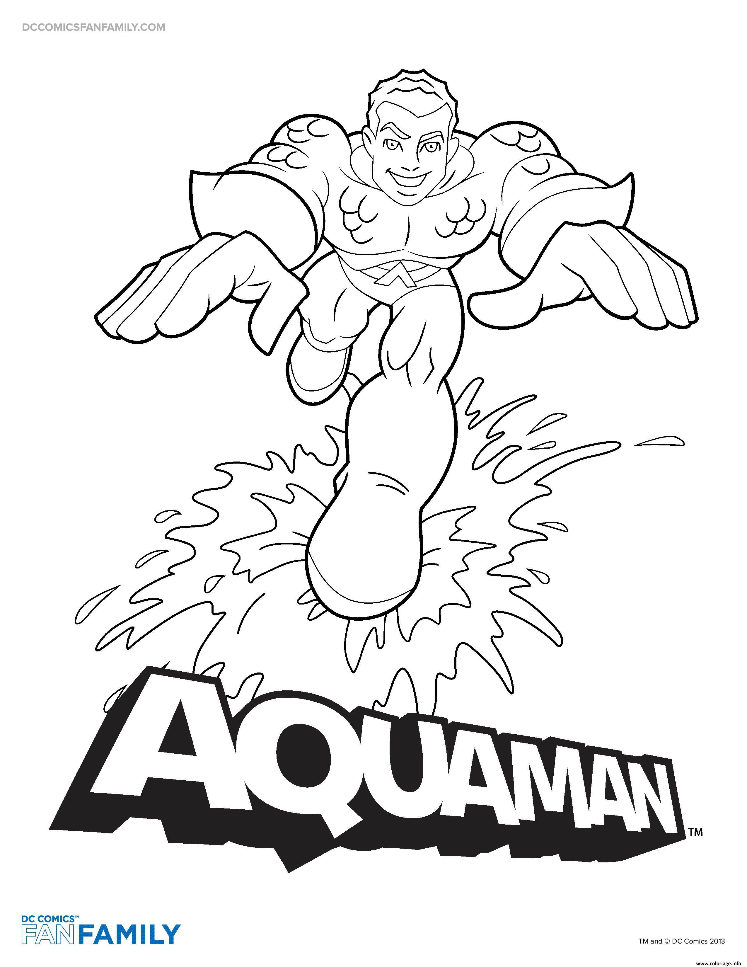Dessin aquaman hero dc comics Coloriage Gratuit à Imprimer