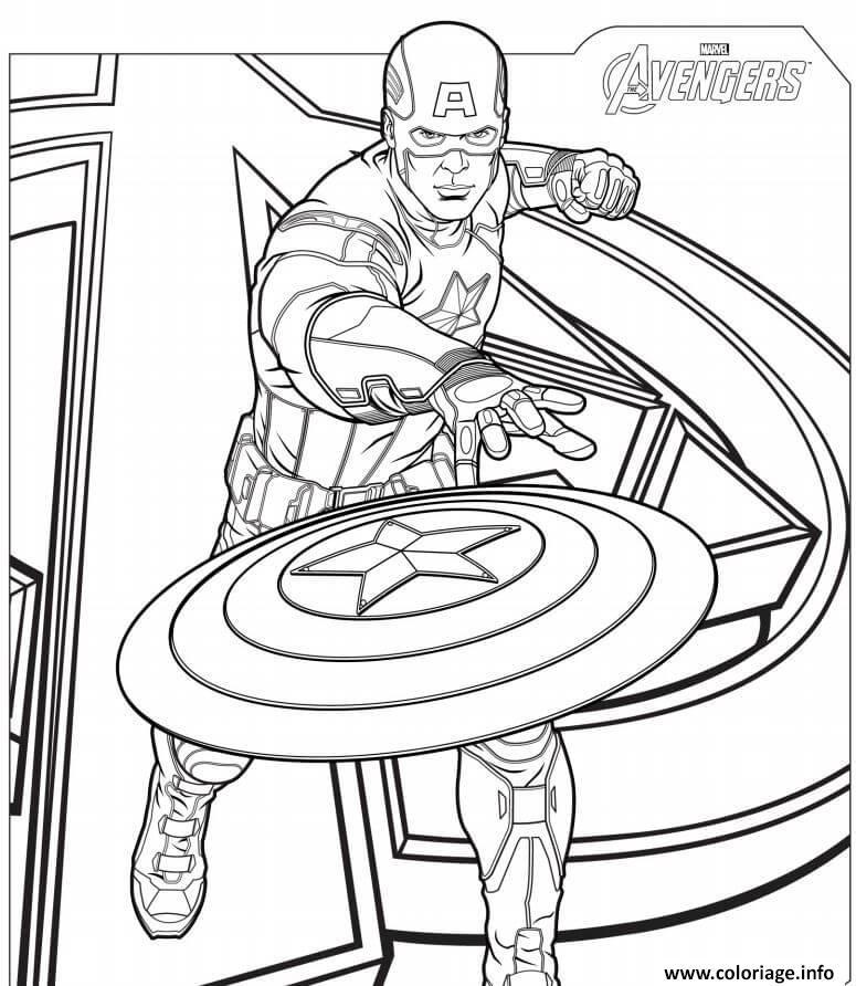 Dessin captain america avengers Coloriage Gratuit à Imprimer