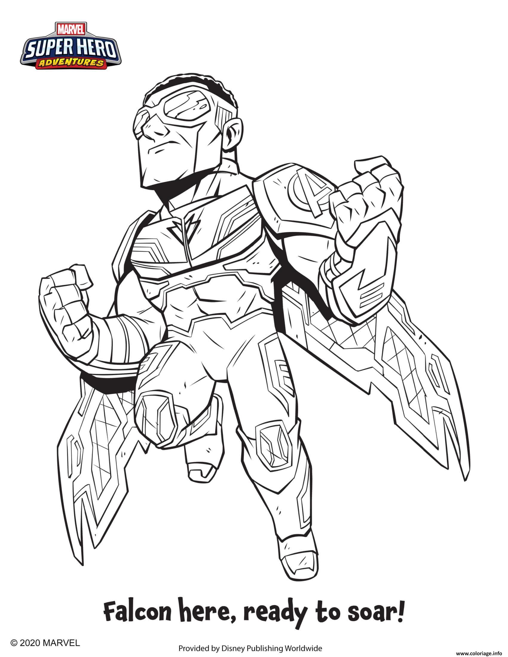 Dessin falcon marvel super heros Coloriage Gratuit à Imprimer